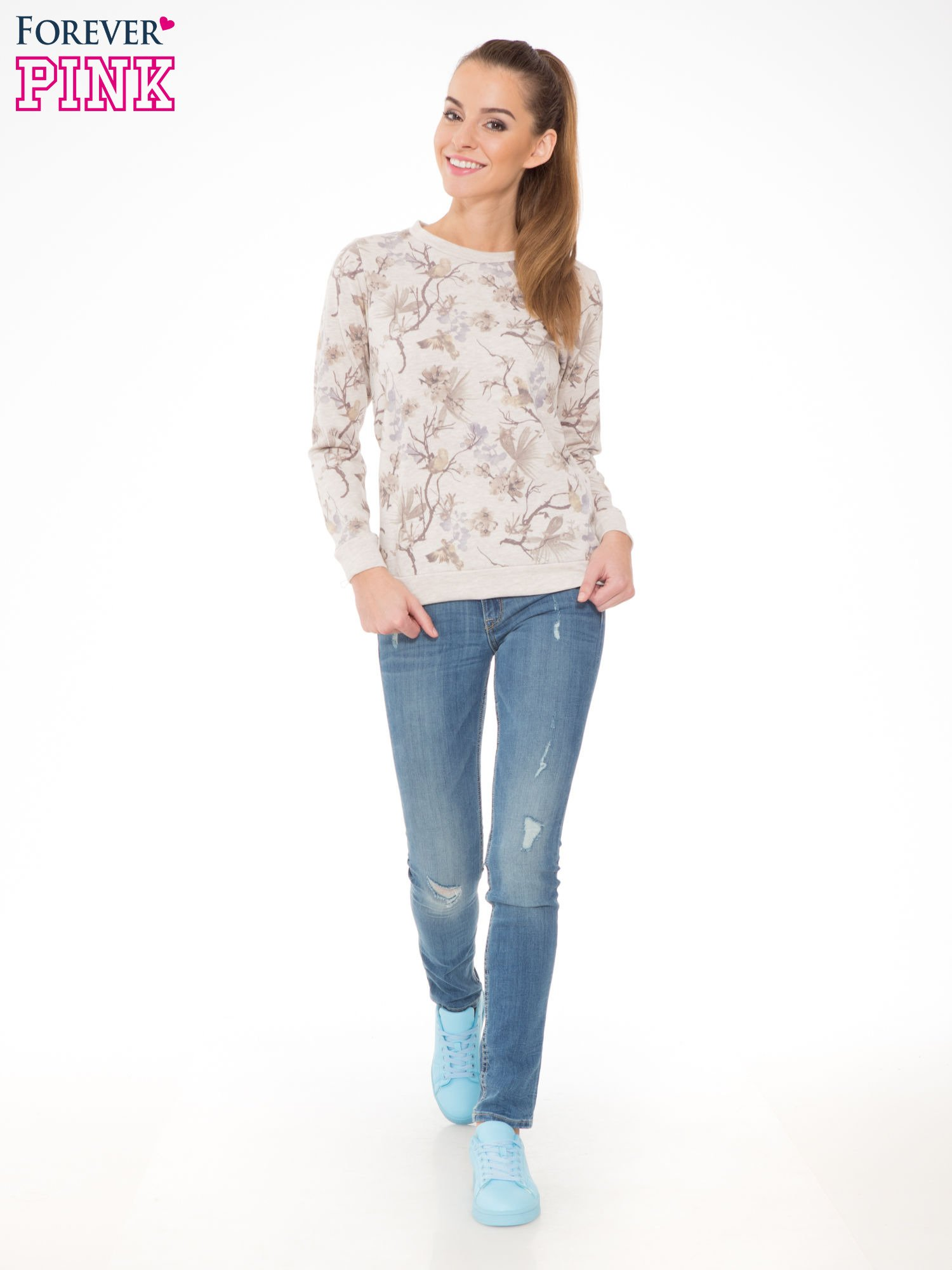 Beżowa bluza z nadrukiem all over floral print                                  zdj.                                  2