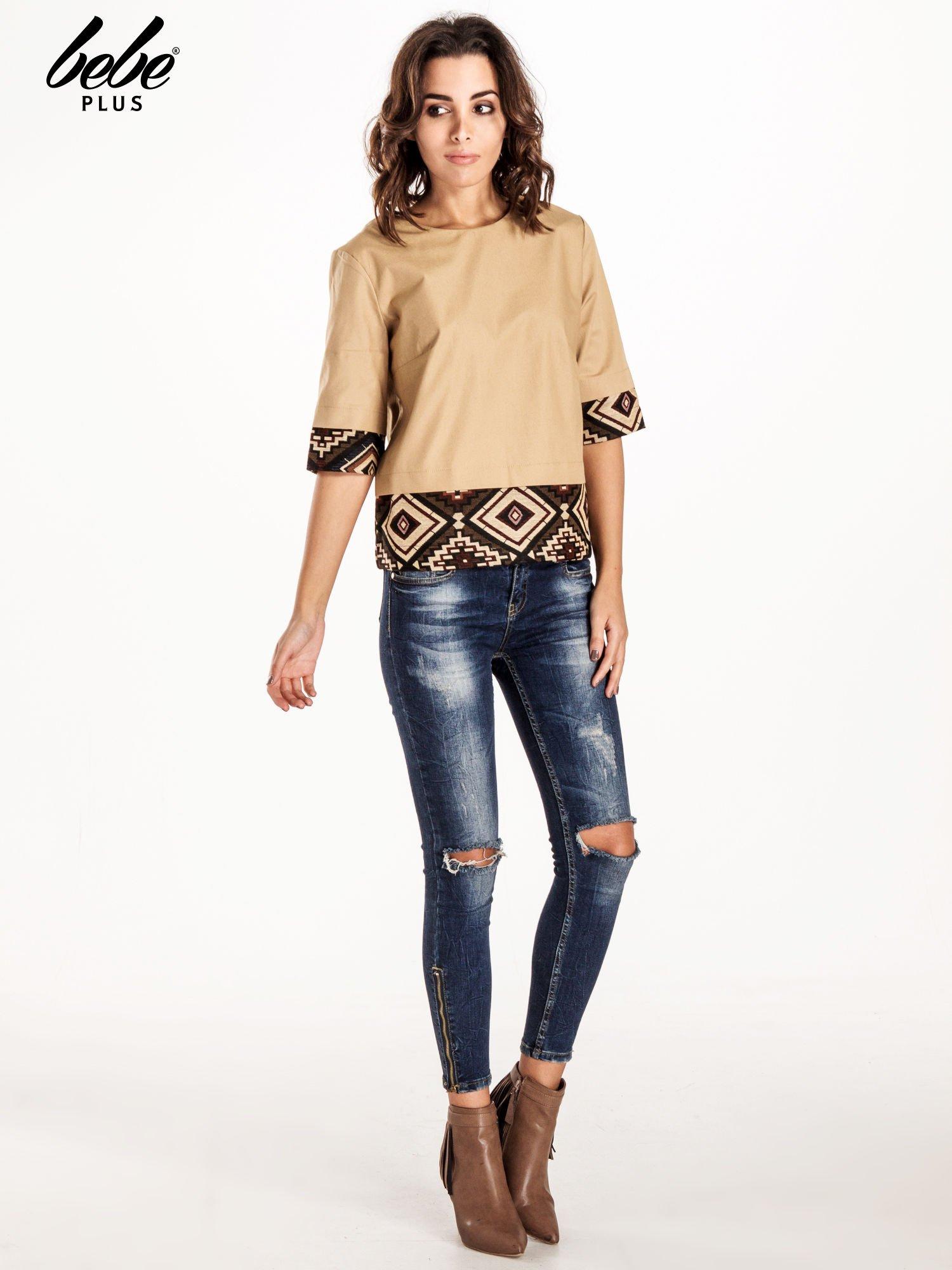 Beżowa bluzka z motywem azteckim                                  zdj.                                  6