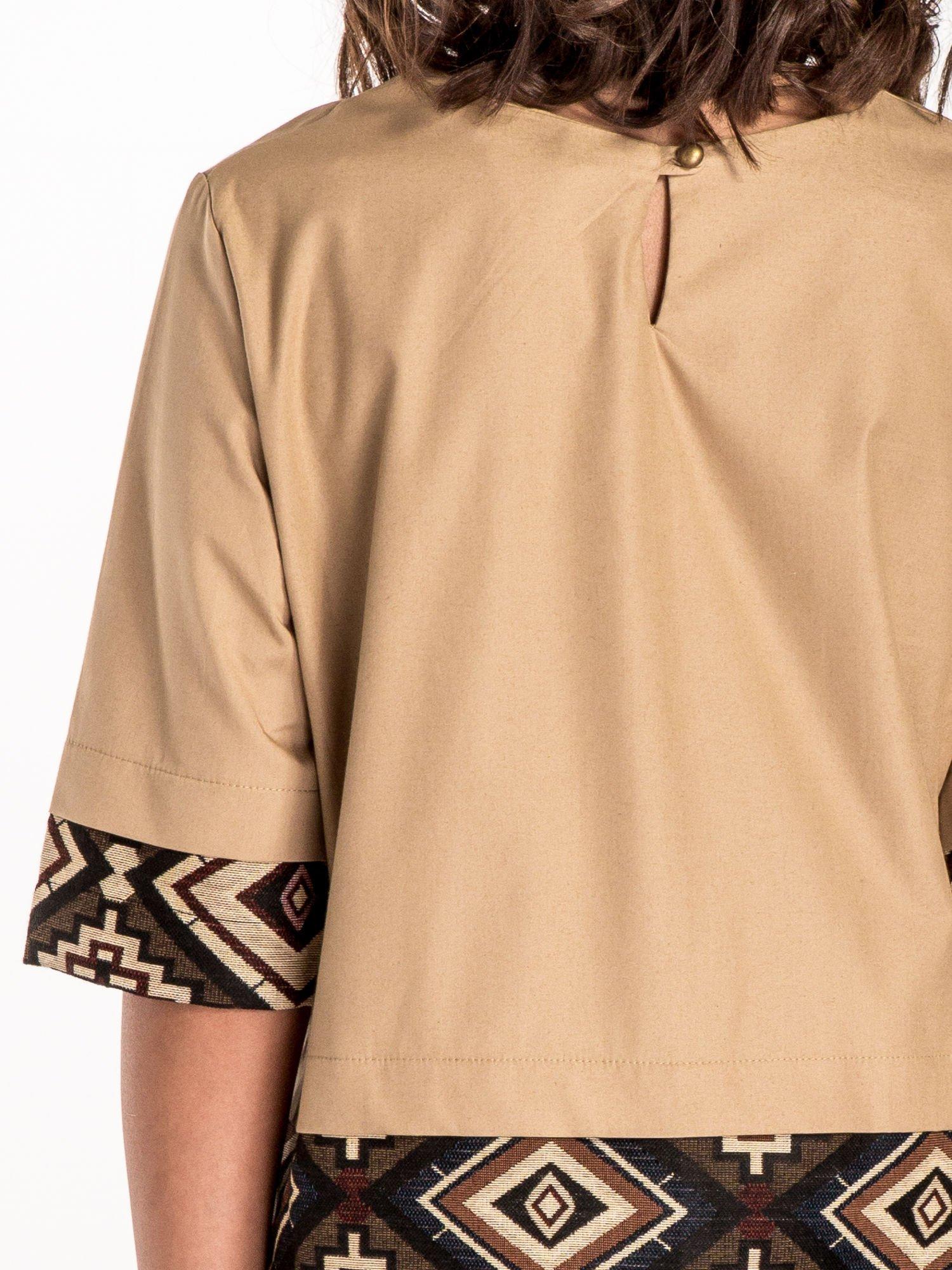 Beżowa bluzka z motywem azteckim                                  zdj.                                  5