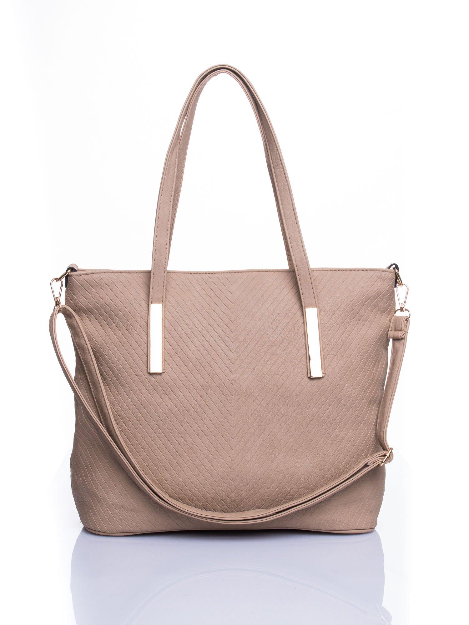Beżowa fakturowana torba shopper bag                                  zdj.                                  1