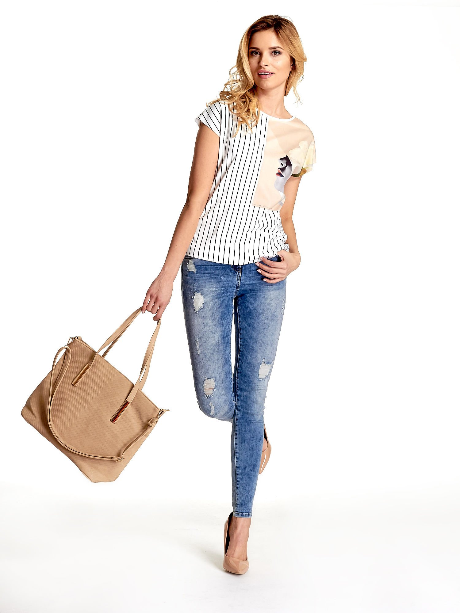 Beżowa fakturowana torba shopper bag                                  zdj.                                  2