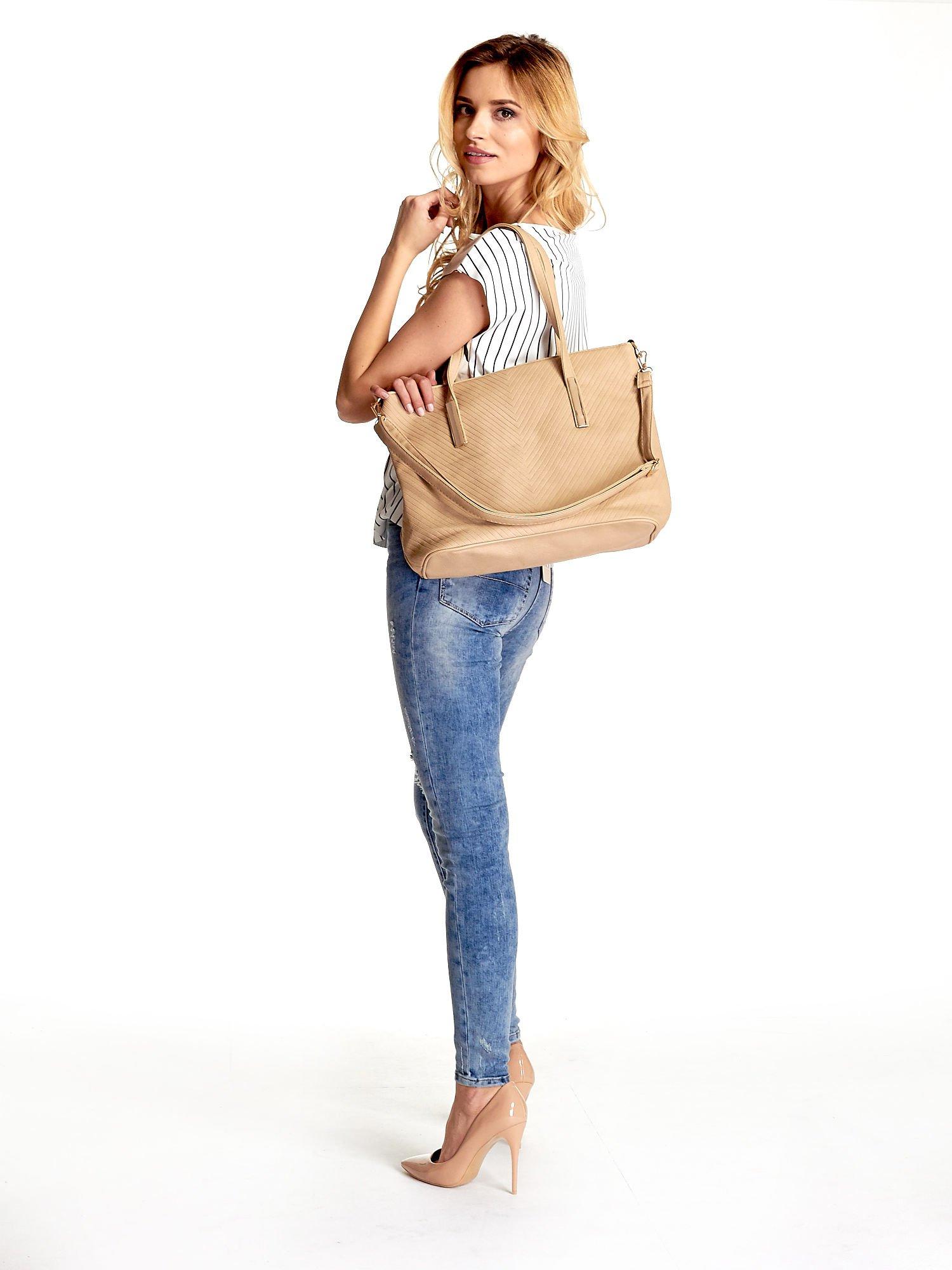 Beżowa fakturowana torba shopper bag                                  zdj.                                  6