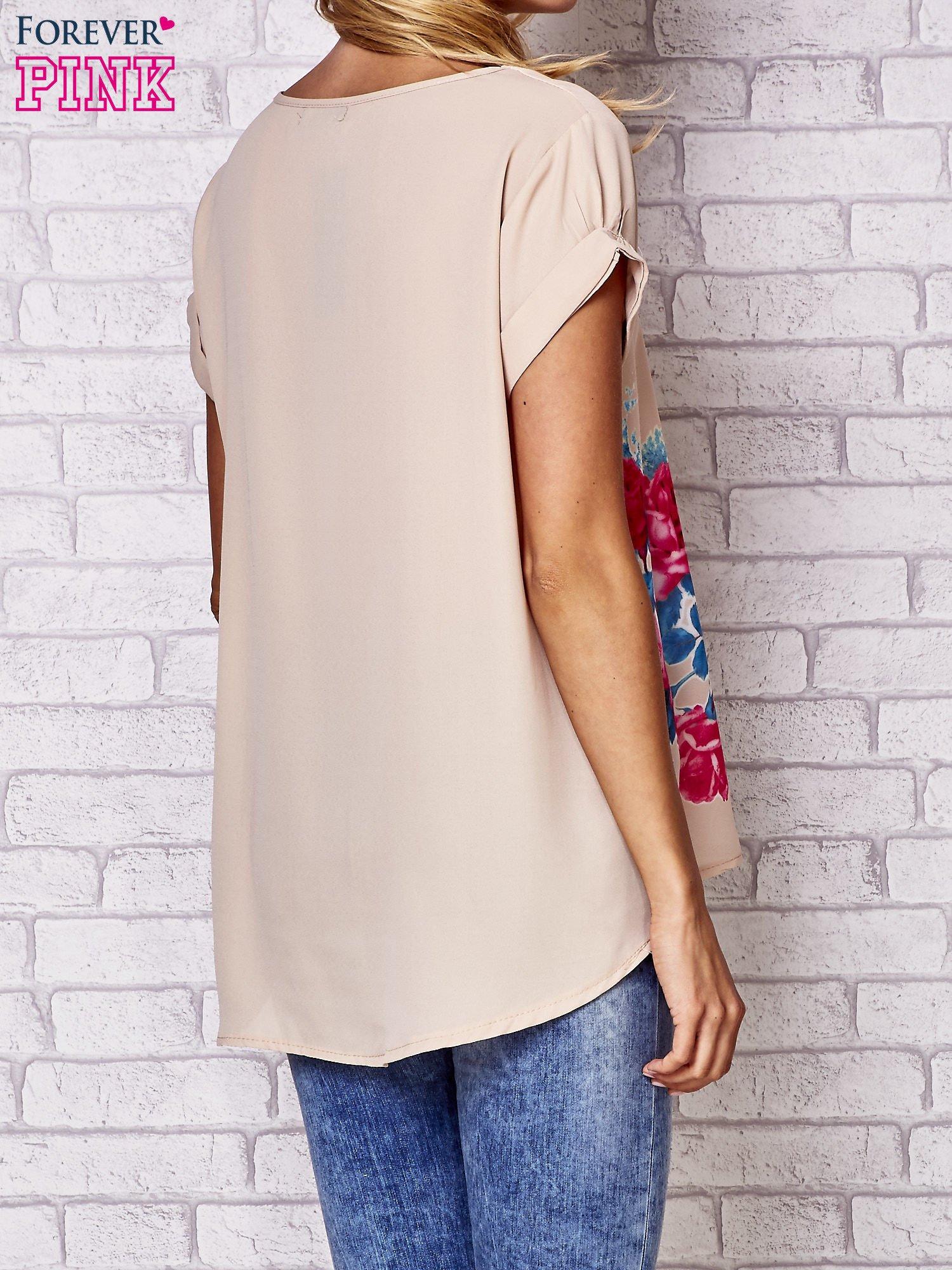 Beżowa koszula z motywem kwiatów                                  zdj.                                  4