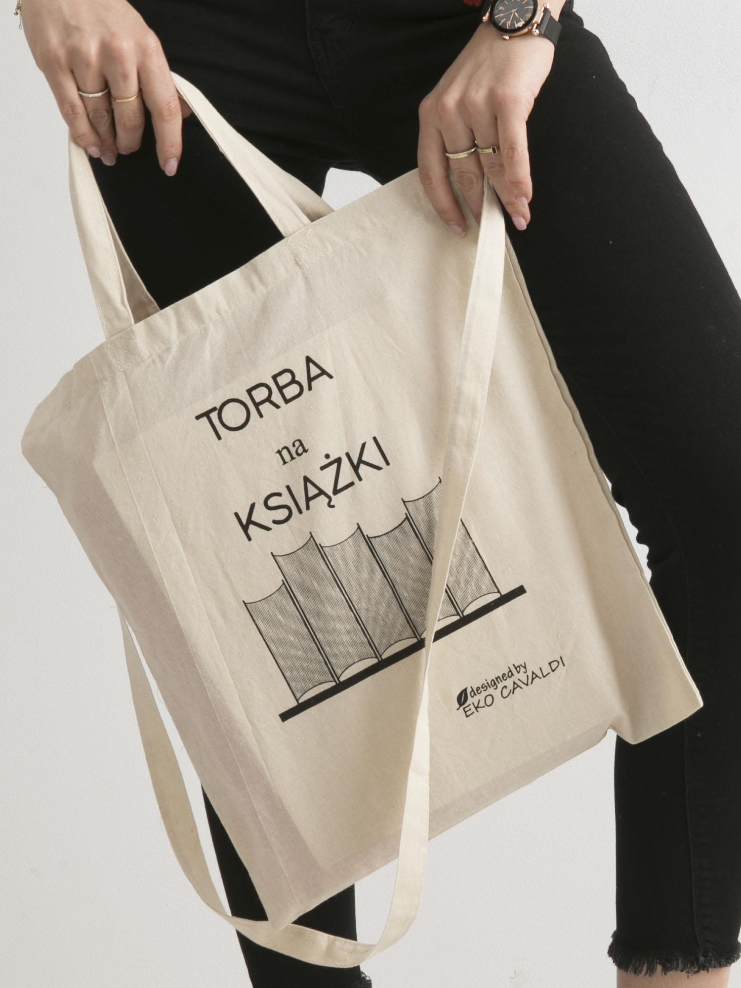 91244164f549c Beżowa torba bawełniana z nadrukiem TORBA NA KSIĄŻKI - Akcesoria torba -  sklep eButik.pl