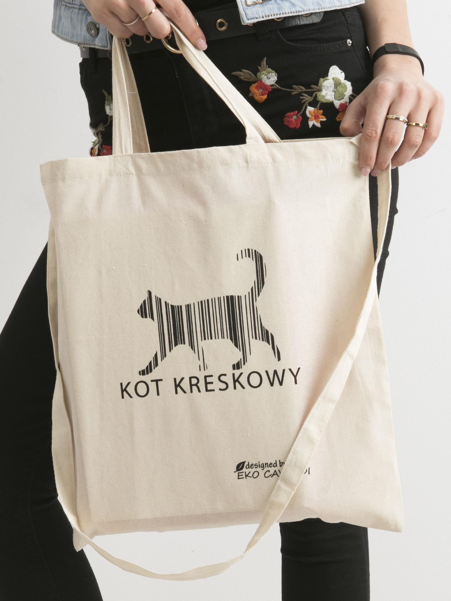 63794d57bbfda Beżowa torba bawełniana z nadrukiem kota - Akcesoria torba - sklep ...