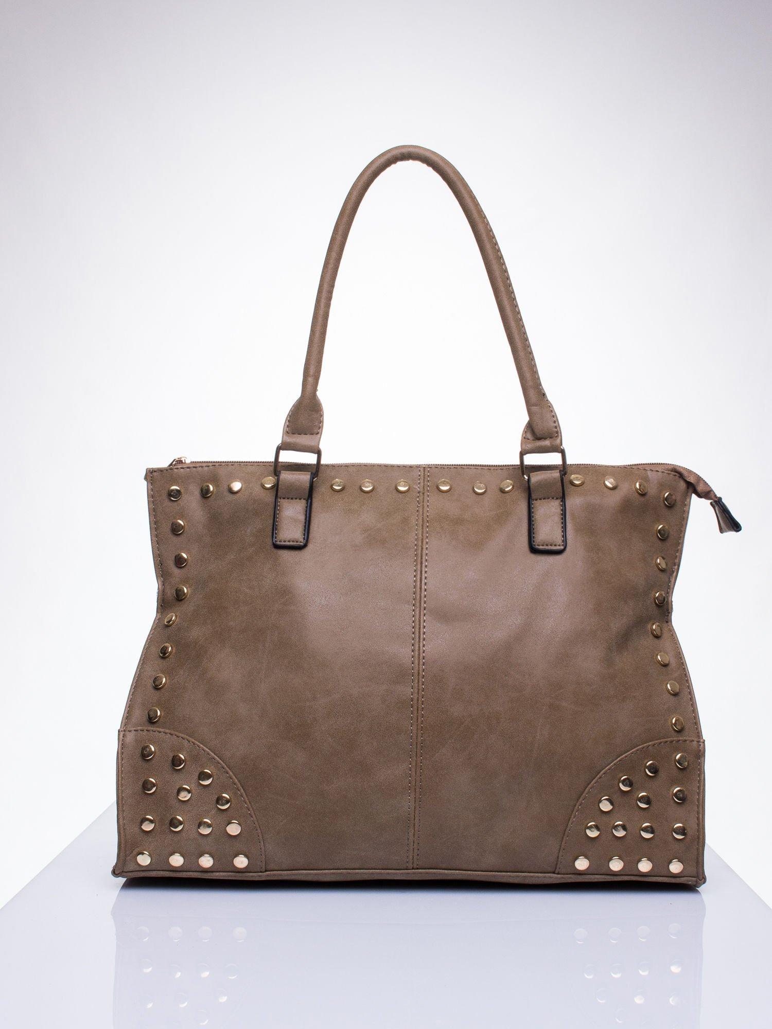 Beżowa torba shopper bag ze złotymi ćwiekami                                  zdj.                                  1
