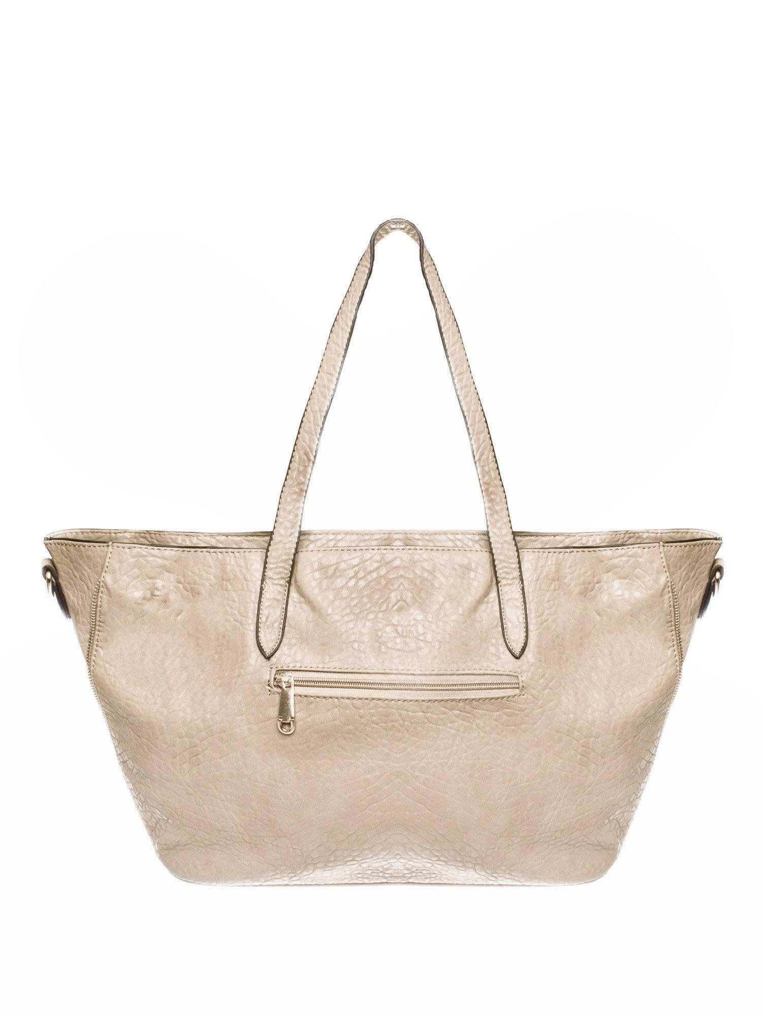 Beżowa torebka shopper bag z apaszką                                  zdj.                                  2