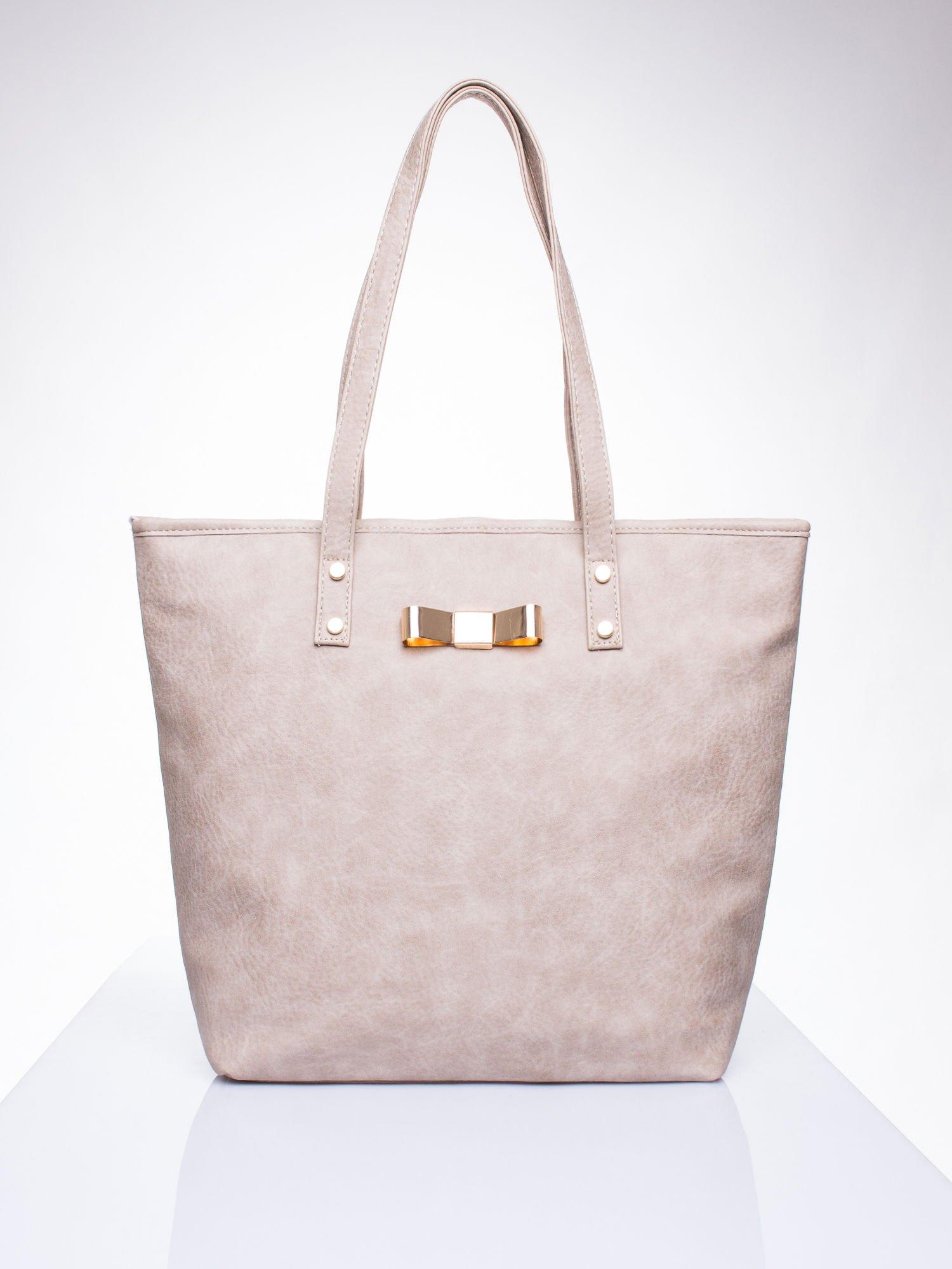 Beżowa torebka shopper bag z kokardką                                  zdj.                                  1