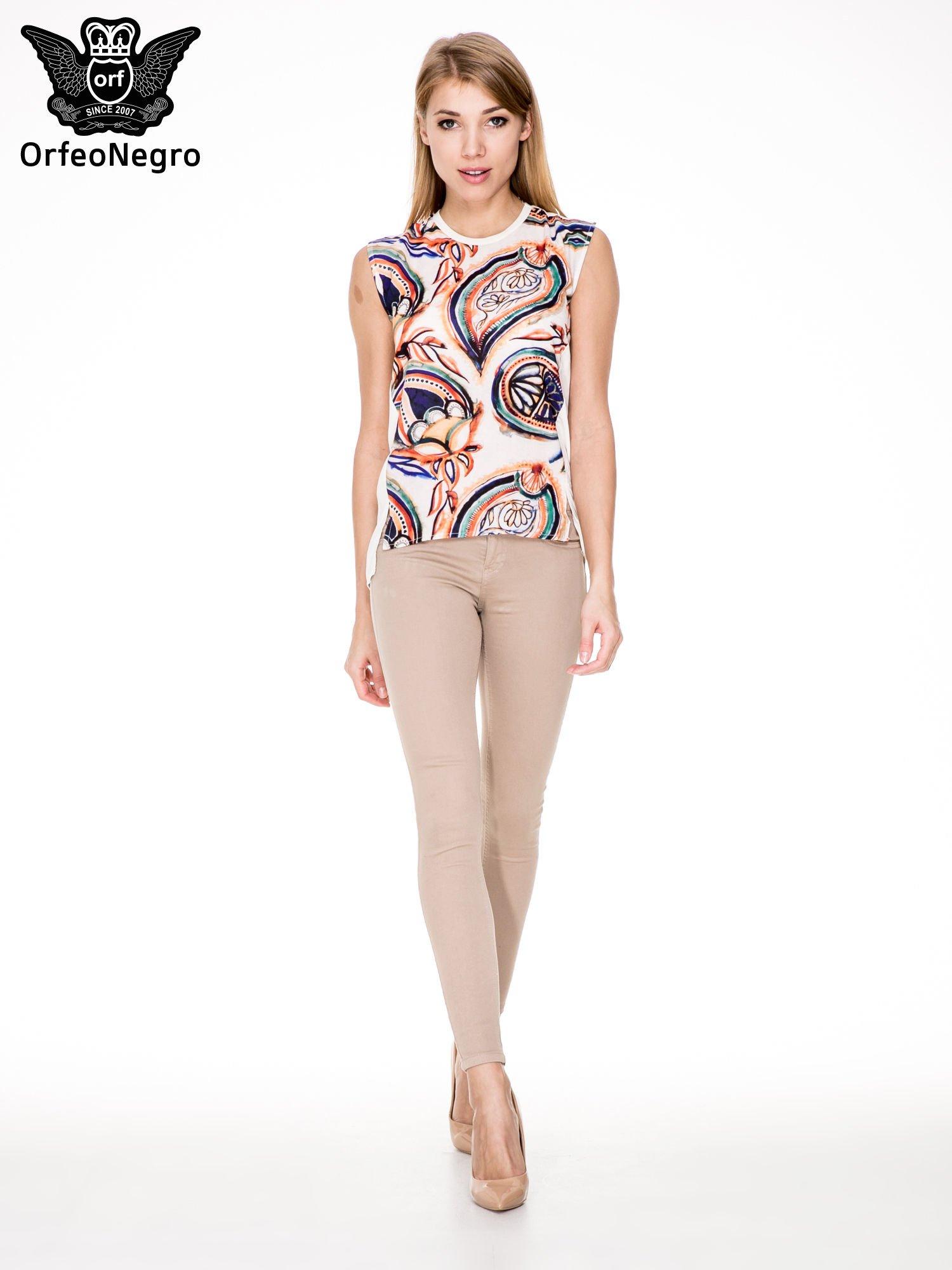 Beżowe spodnie typu skinny z elastycznego materiału                                  zdj.                                  4