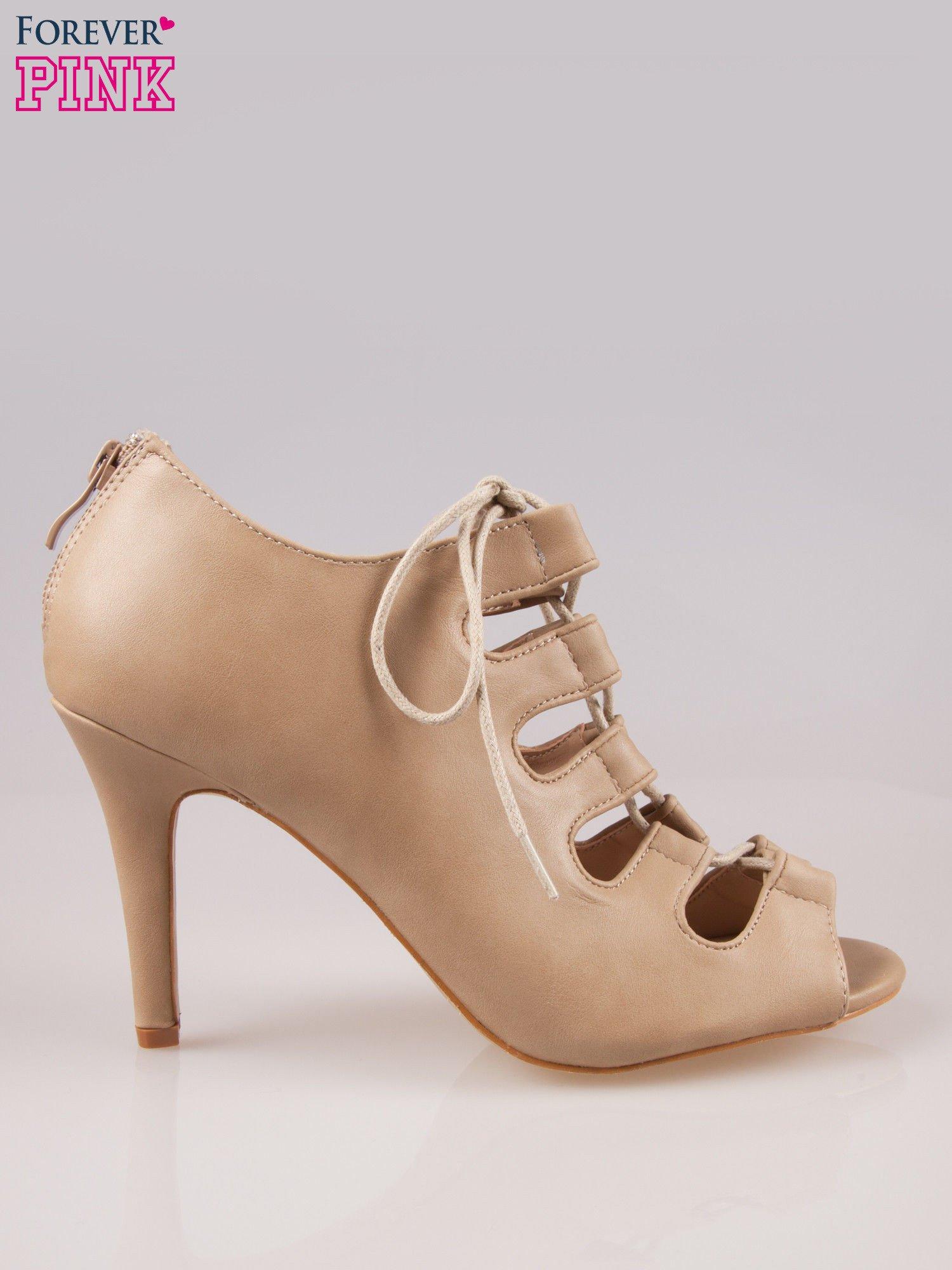 Beżowe wiązane sandały typu gladiatorki Dion                                  zdj.                                  1