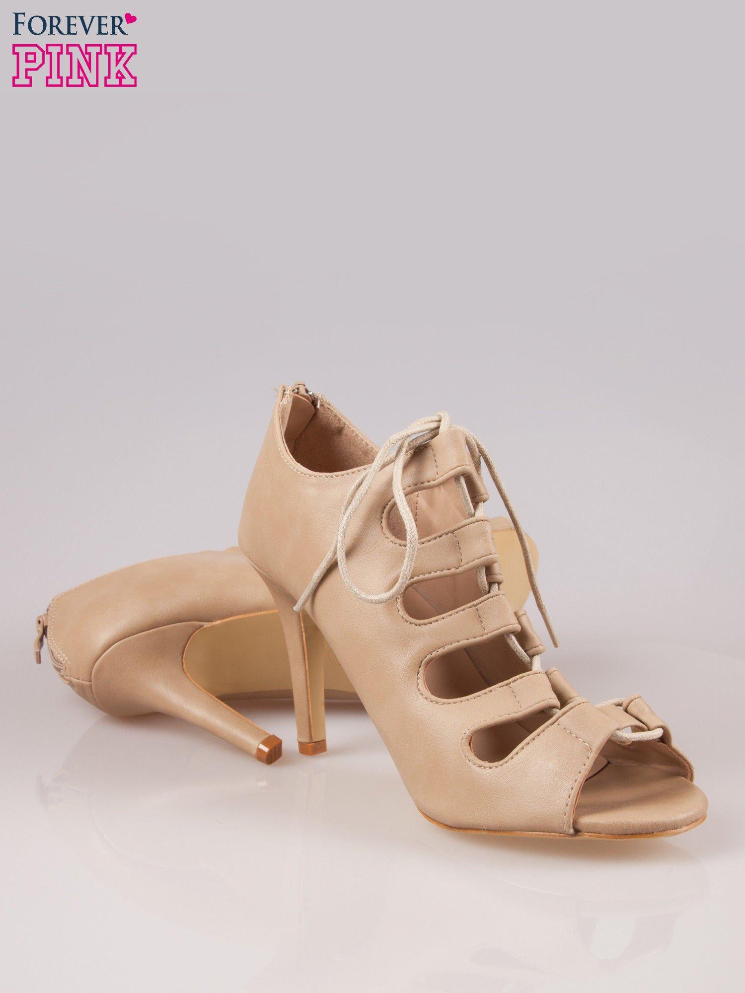 Beżowe wiązane sandały typu gladiatorki Dion                                  zdj.                                  4