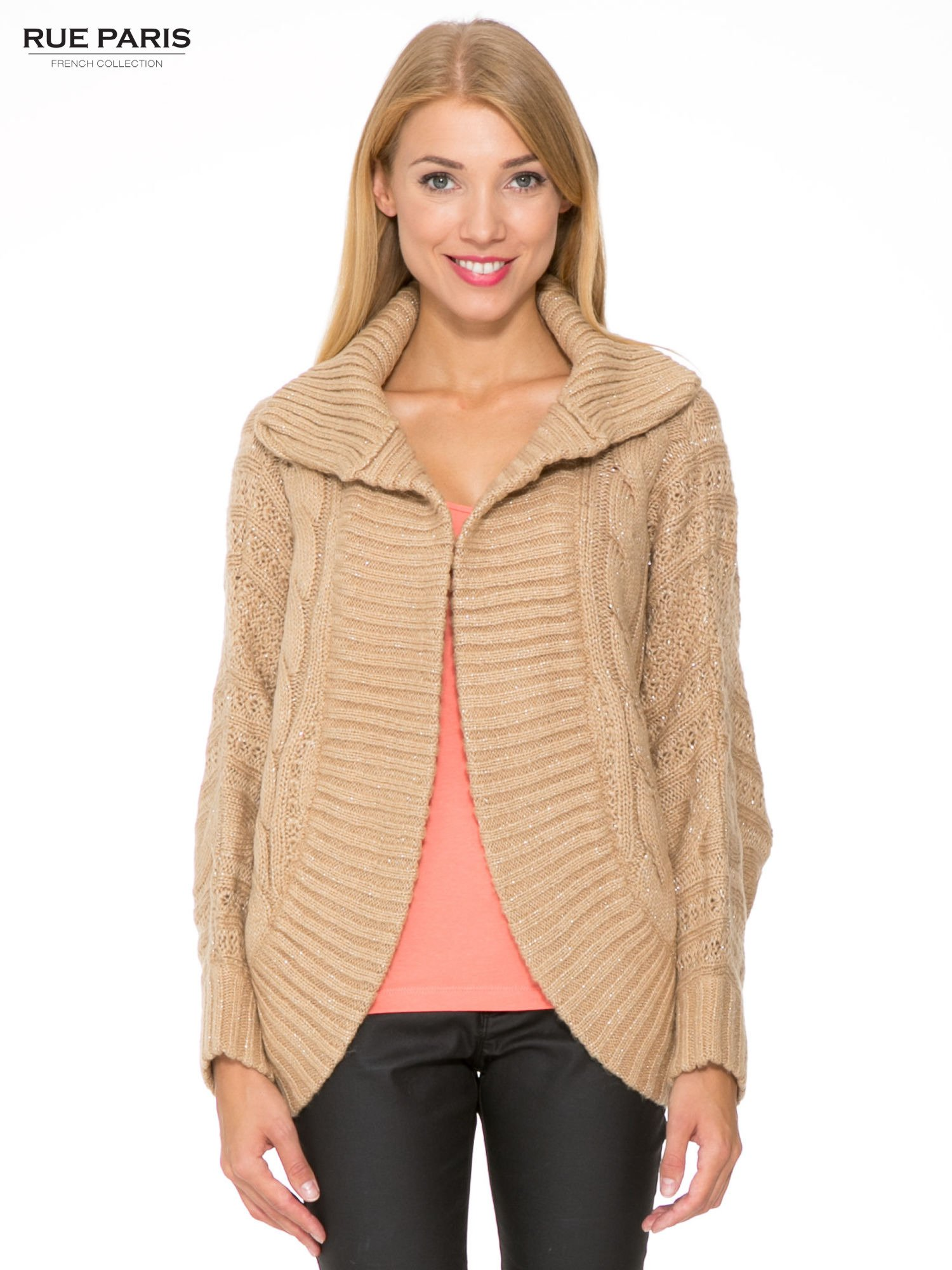 Beżowy dziergany sweter typu kardigan przeplatany błyszczącą nicią                                  zdj.                                  1
