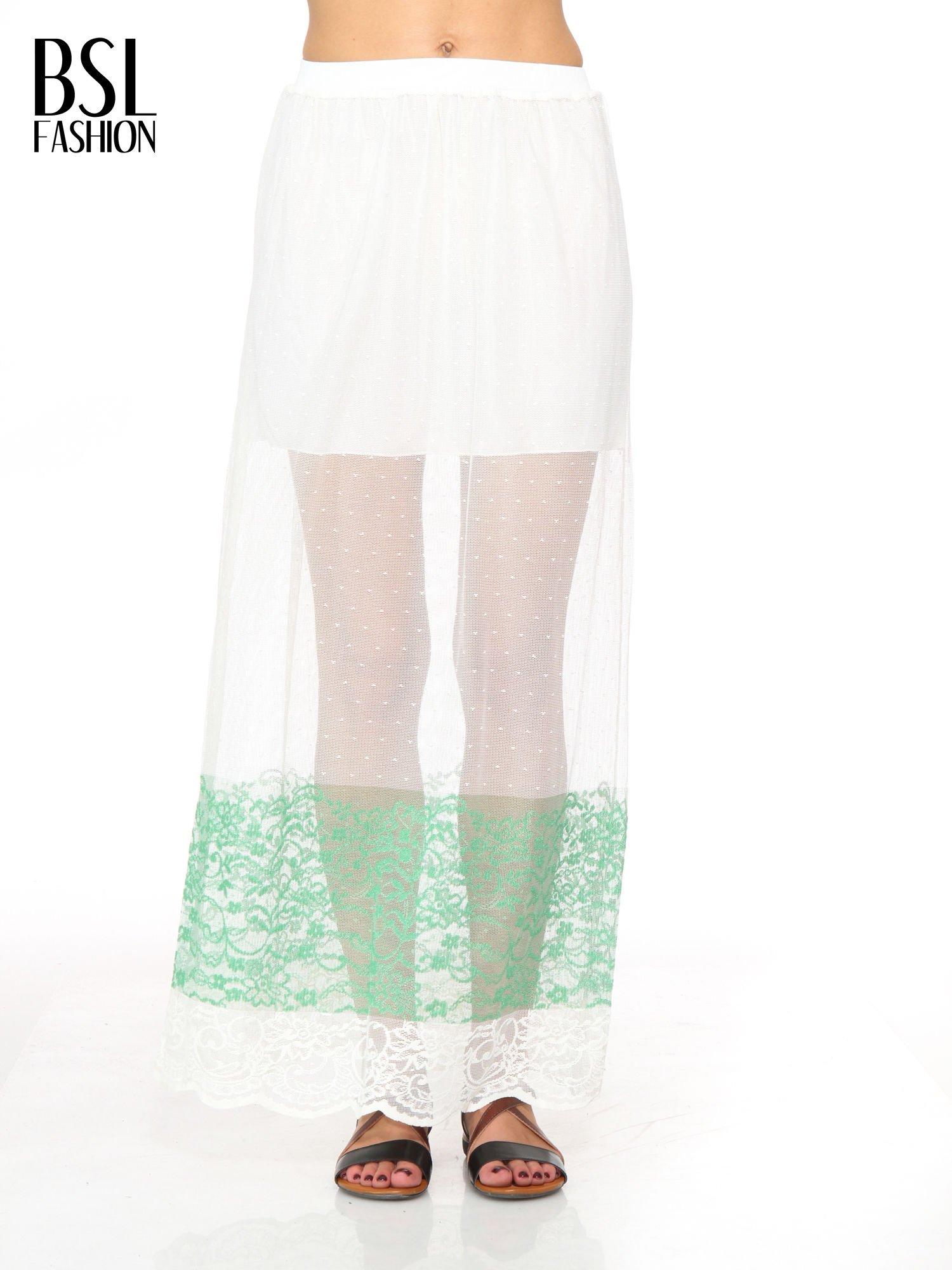 Biała ażurowa spódnica z zielonym pasem                                  zdj.                                  1