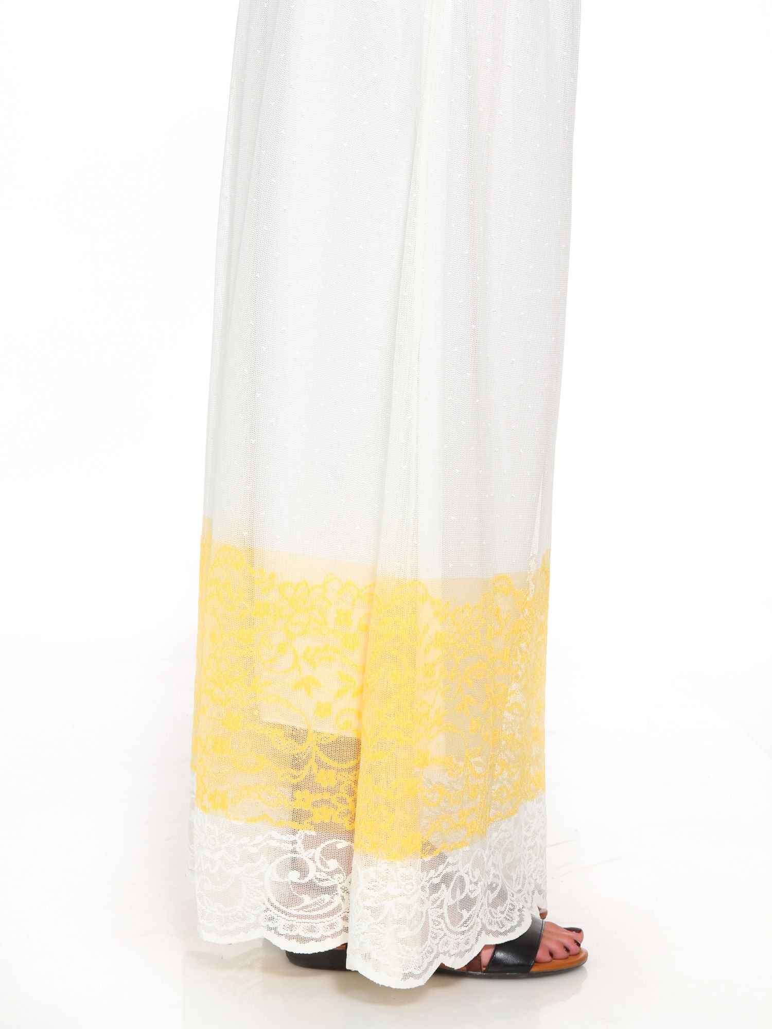 Biała ażurowa spódnica z żółtym pasem                                  zdj.                                  8