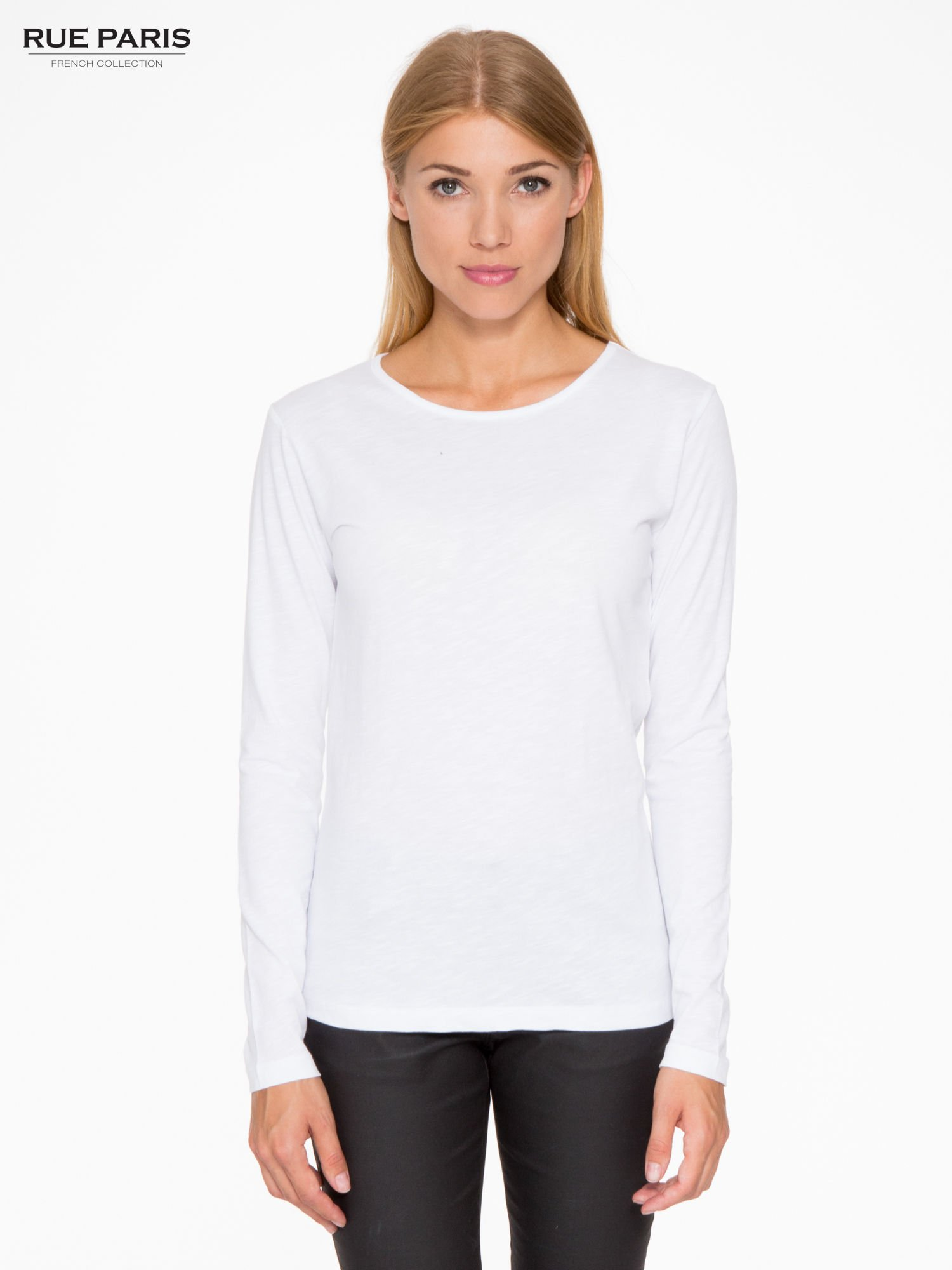 Biała basicowa bluzka z długim rękawem                                  zdj.                                  1