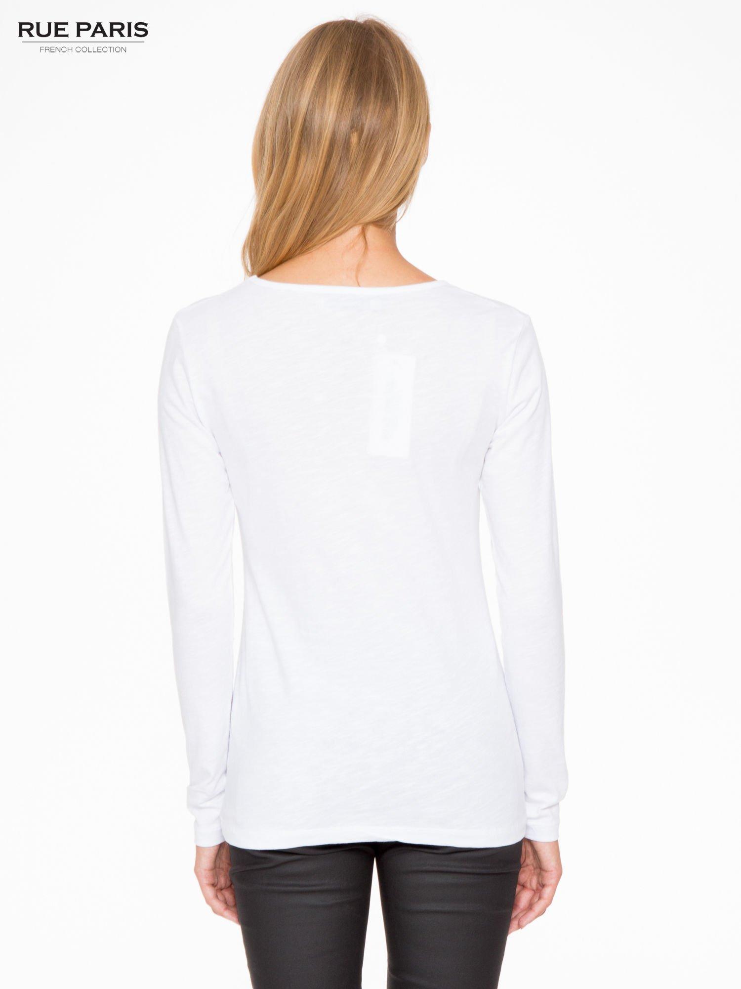 Biała basicowa bluzka z długim rękawem                                  zdj.                                  4
