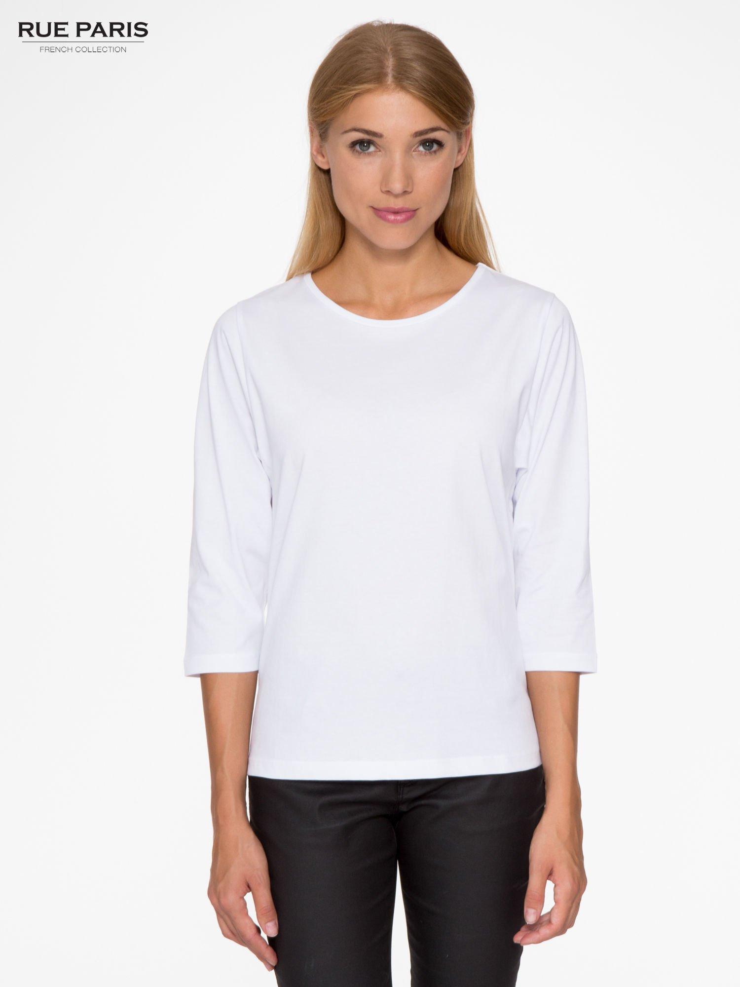 Biała basicowa bluzka z rękawem 3/4                                  zdj.                                  1
