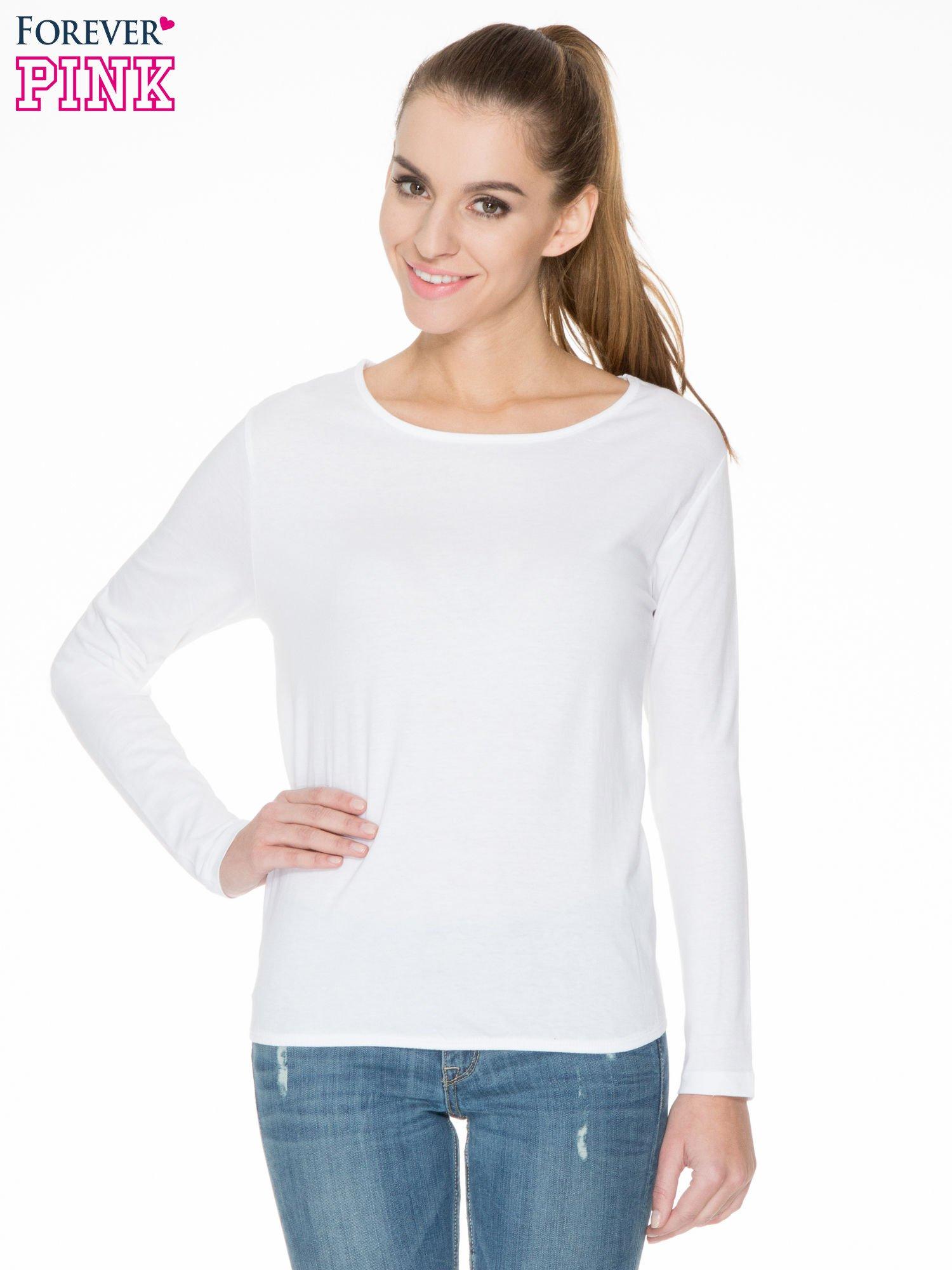 e0dde0321e1c Biała bawełniana bluzka z gumką na dole - Bluzka longsleeves - sklep ...