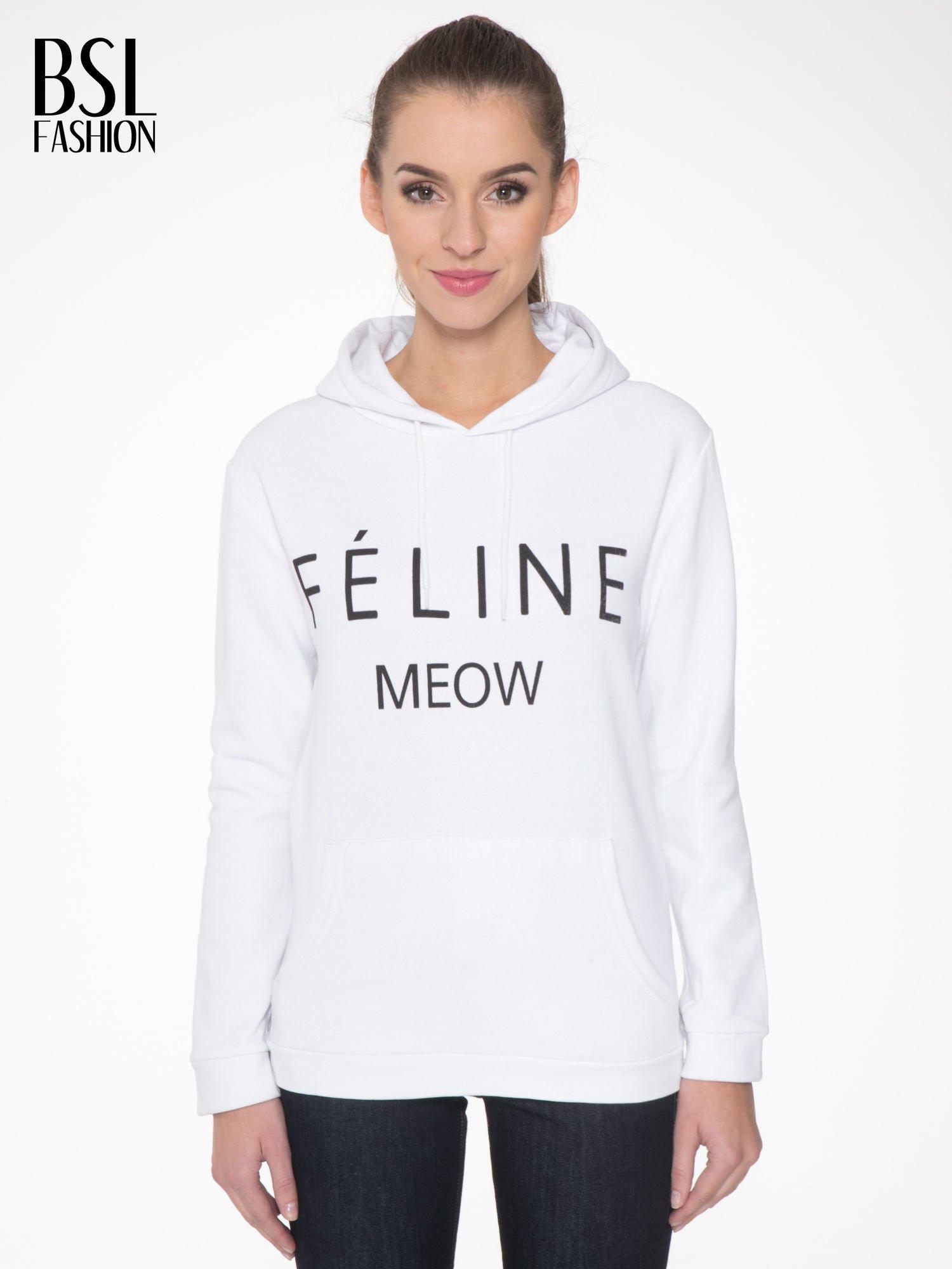 Biała  bluza kangur z kapturem i nadrukiem FÉLINE MEOW                                  zdj.                                  1