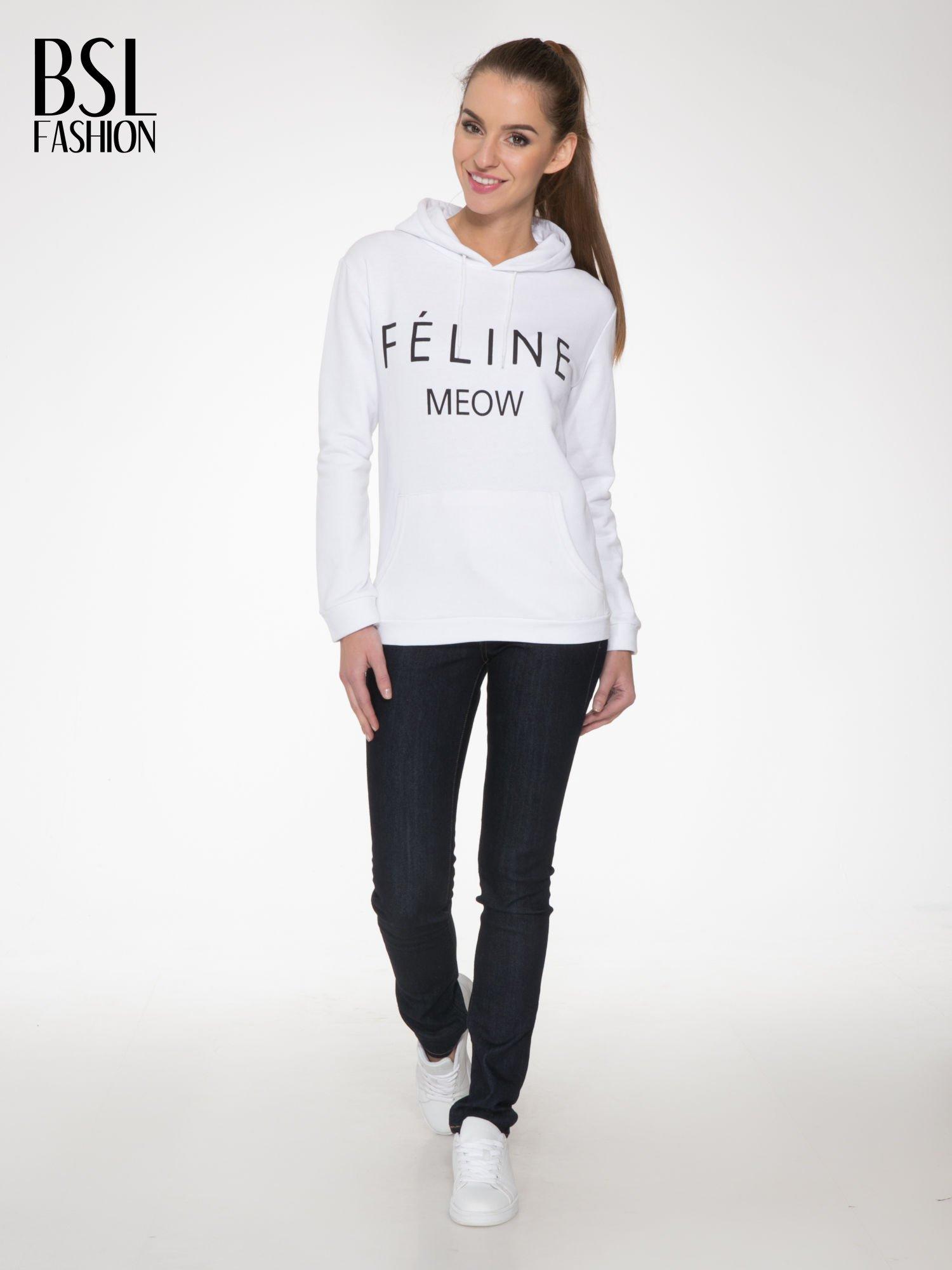 Biała  bluza kangur z kapturem i nadrukiem FÉLINE MEOW                                  zdj.                                  2