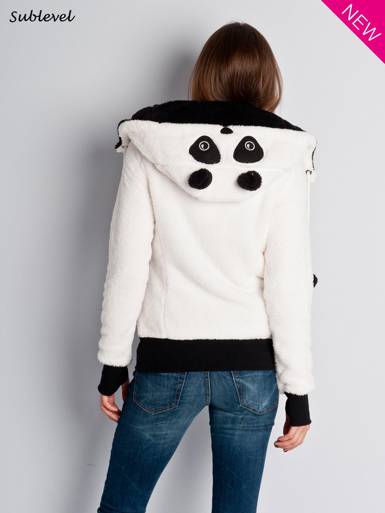Biała bluza miś z kapturem z uszkami i kieszeniami z łapkami                                  zdj.                                  6