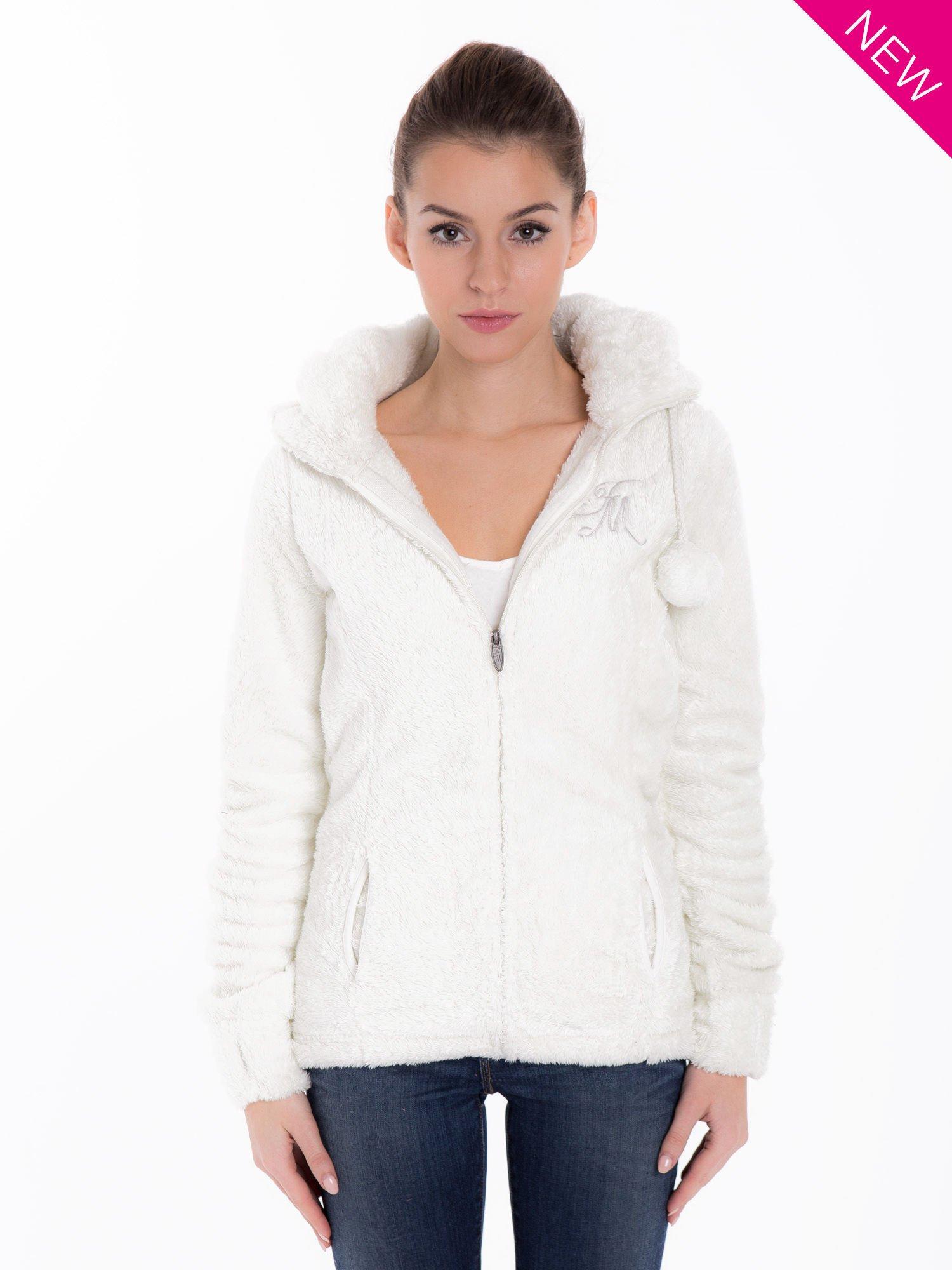 Biała bluza polarowa z kapturem z pomponikami                                  zdj.                                  2