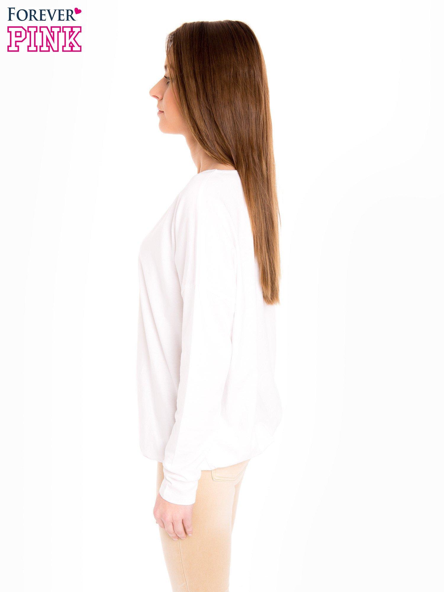 Biała bluzka z gumką u dołu                                  zdj.                                  2