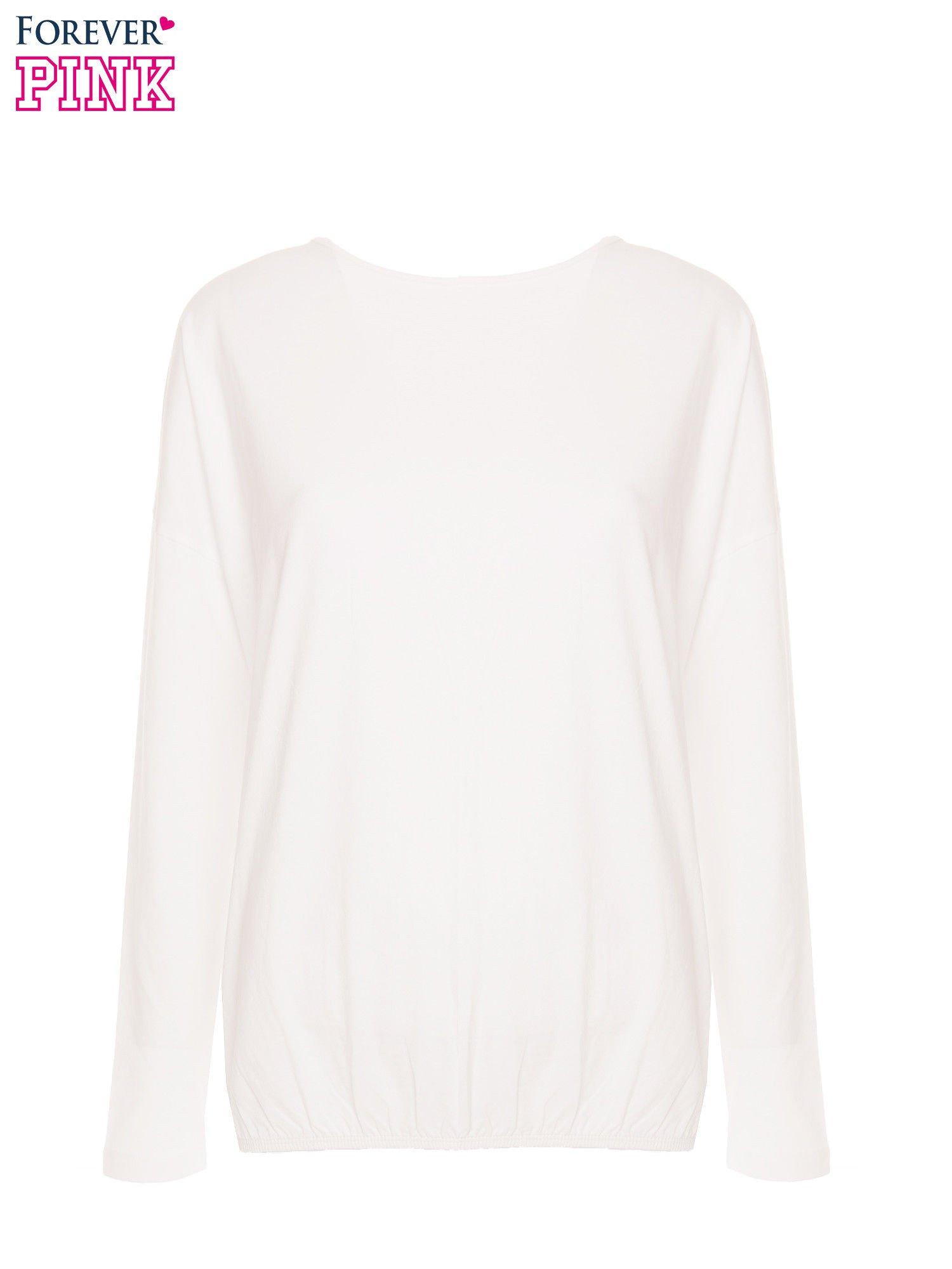 Biała bluzka z gumką u dołu                                  zdj.                                  4