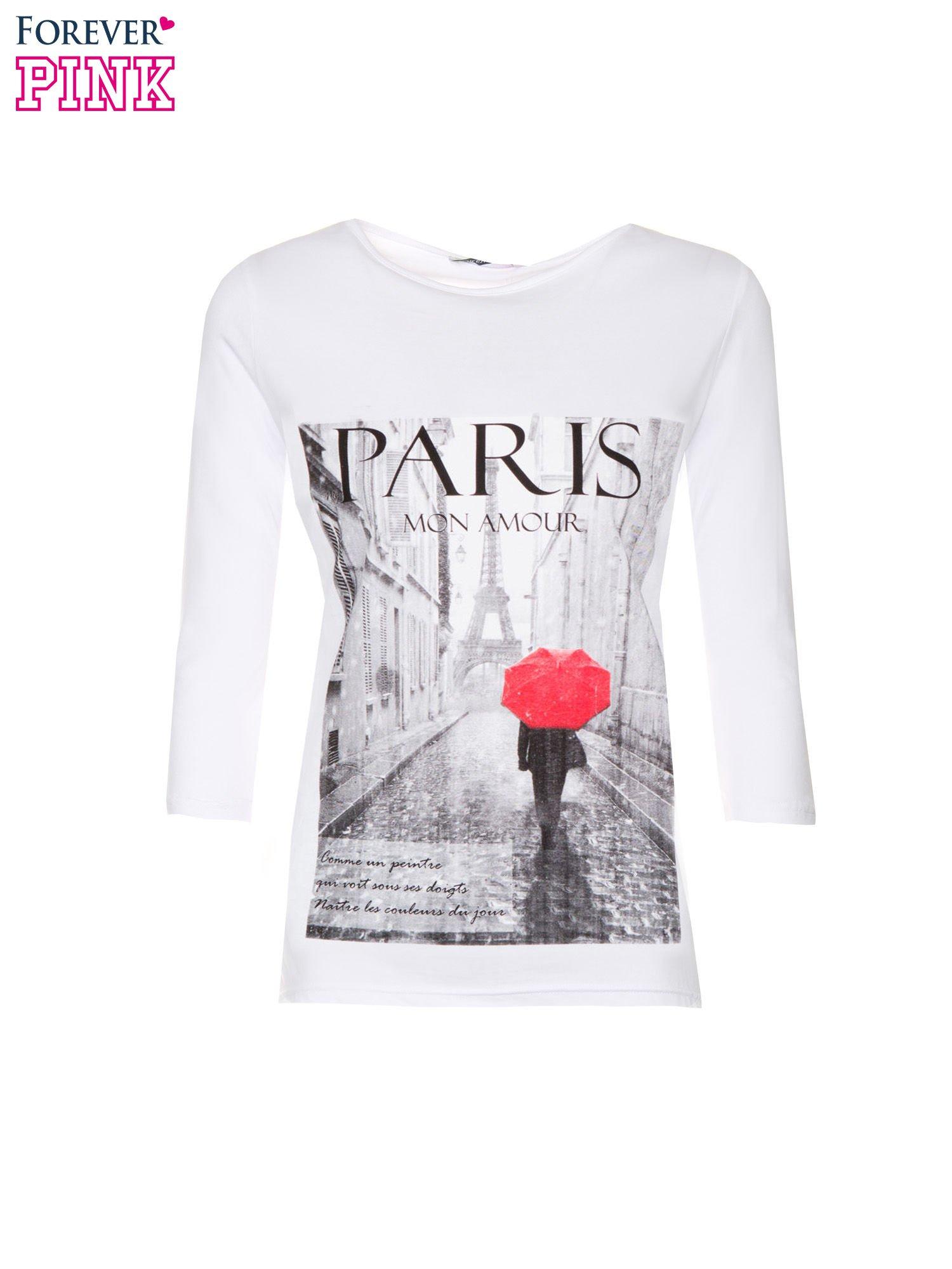 Biała bluzka z motywem Paryża                                  zdj.                                  2