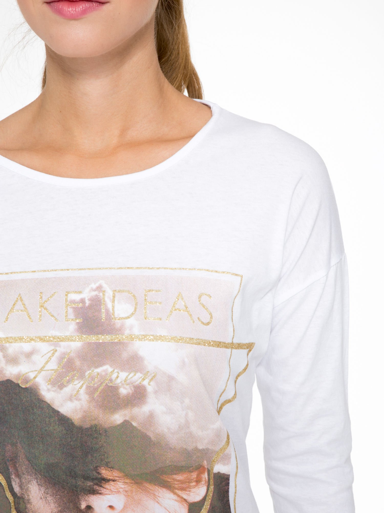Biała bluzka z napisem MAKE IDEAS HAPPEN                                  zdj.                                  6