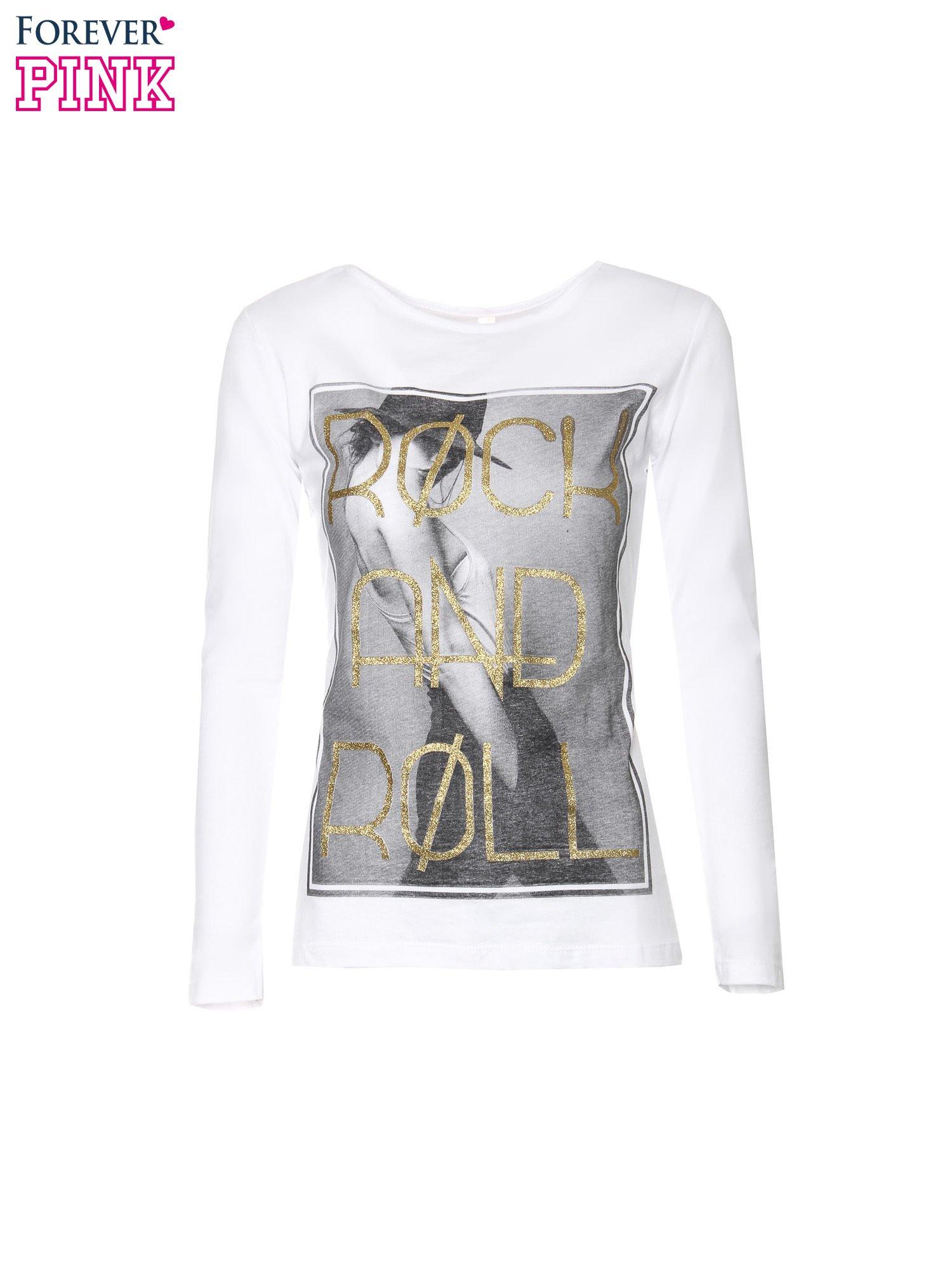 Biała bluzka ze złotym brokatowym napisem ROCK AND ROLL                                  zdj.                                  5