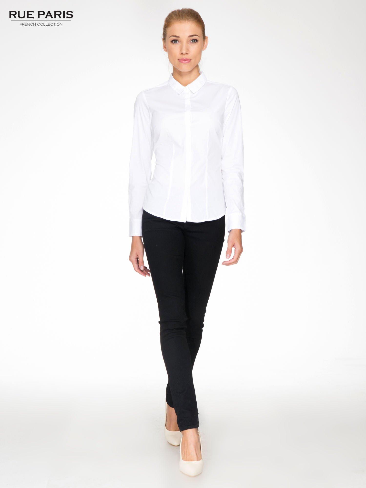 Fantastyczny Biała elegancka koszula damska z krytą listwą - Koszula klasyczna EZ27