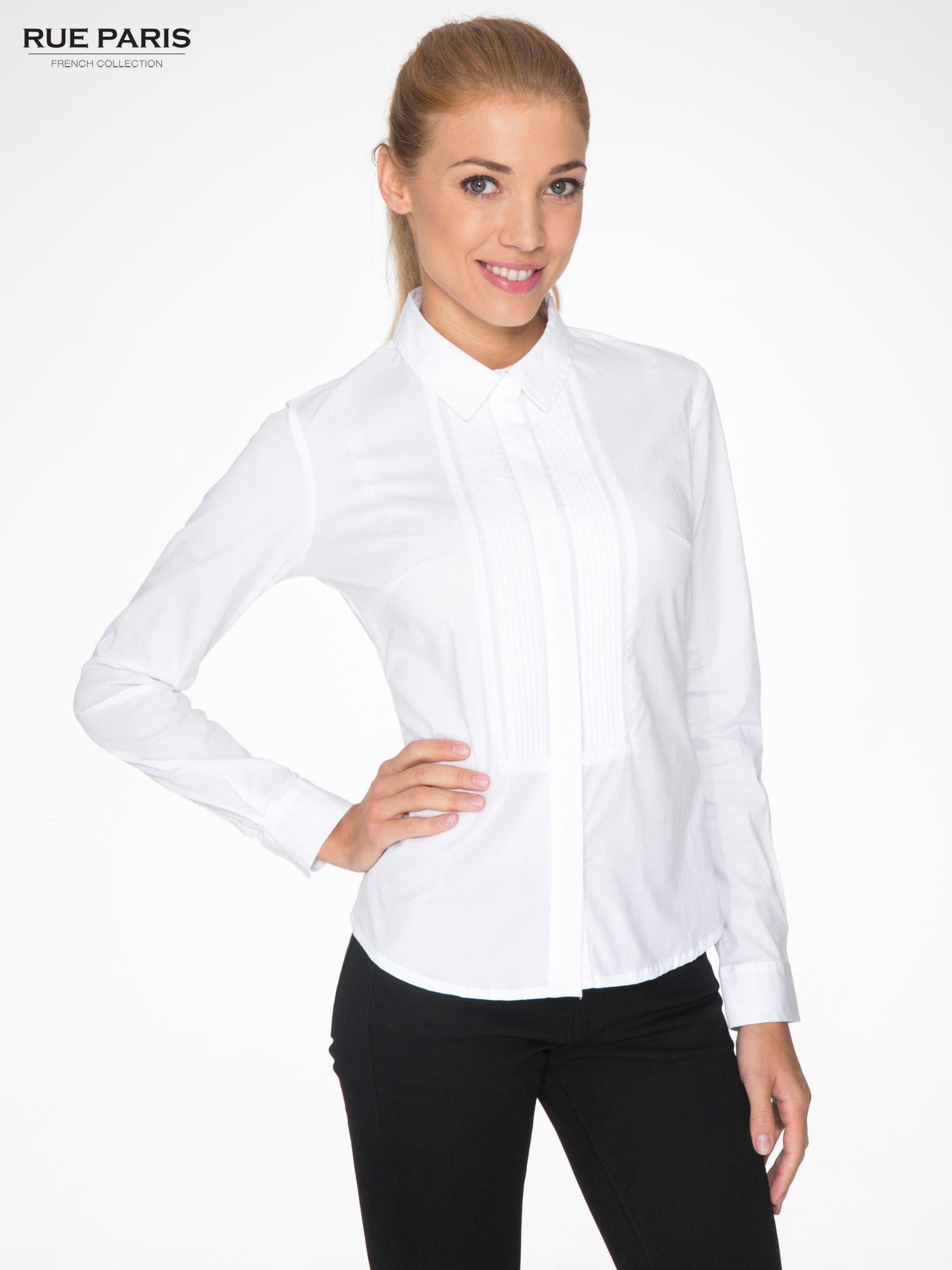f0612a2103 Bardzo Biała elegancka koszula damska z marszczonym przodem - Koszula QO-49