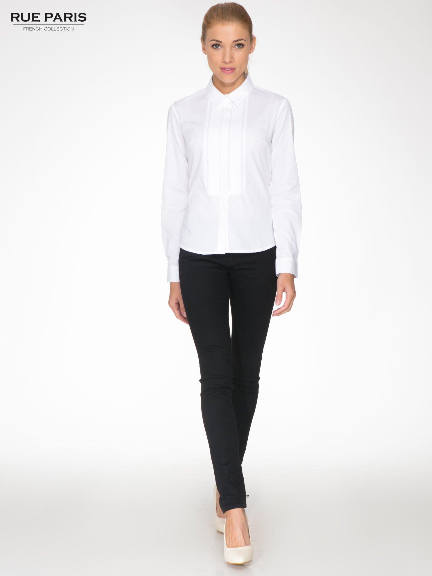 Biała elegancka koszula damska z marszczonym przodem                                  zdj.                                  2
