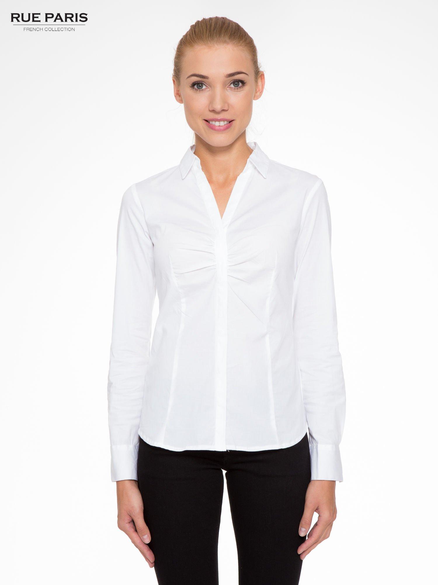 Biała elegancka koszula z marszczeniem przy dekolcie                                  zdj.                                  1