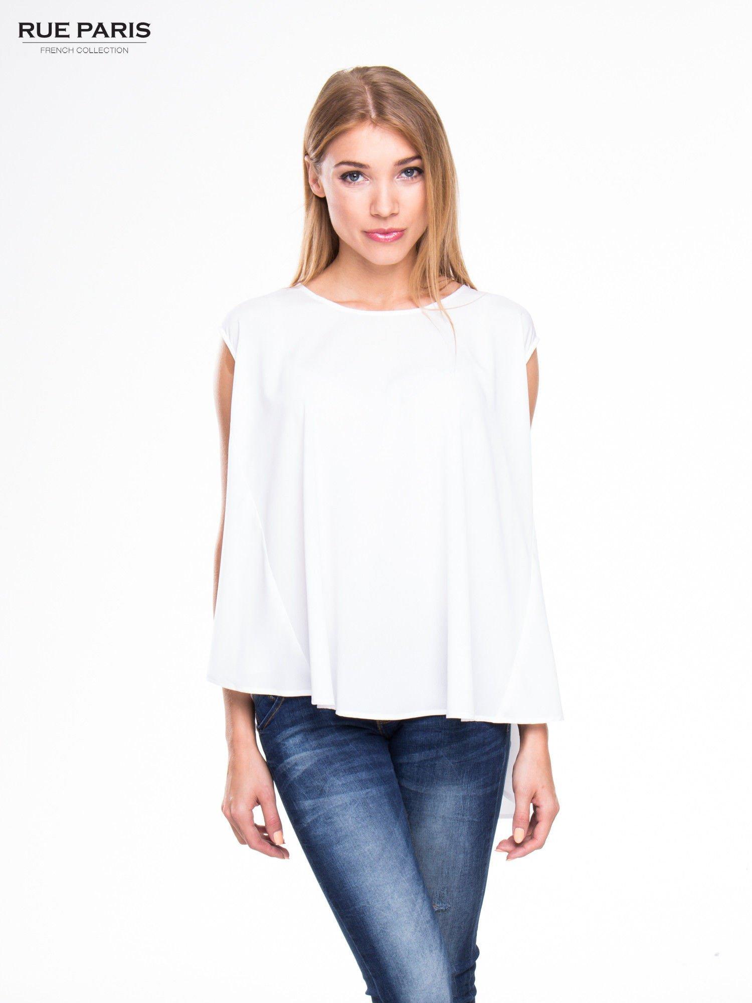 Biała koszula dzwonek z wydłużanym tyłem                                  zdj.                                  1