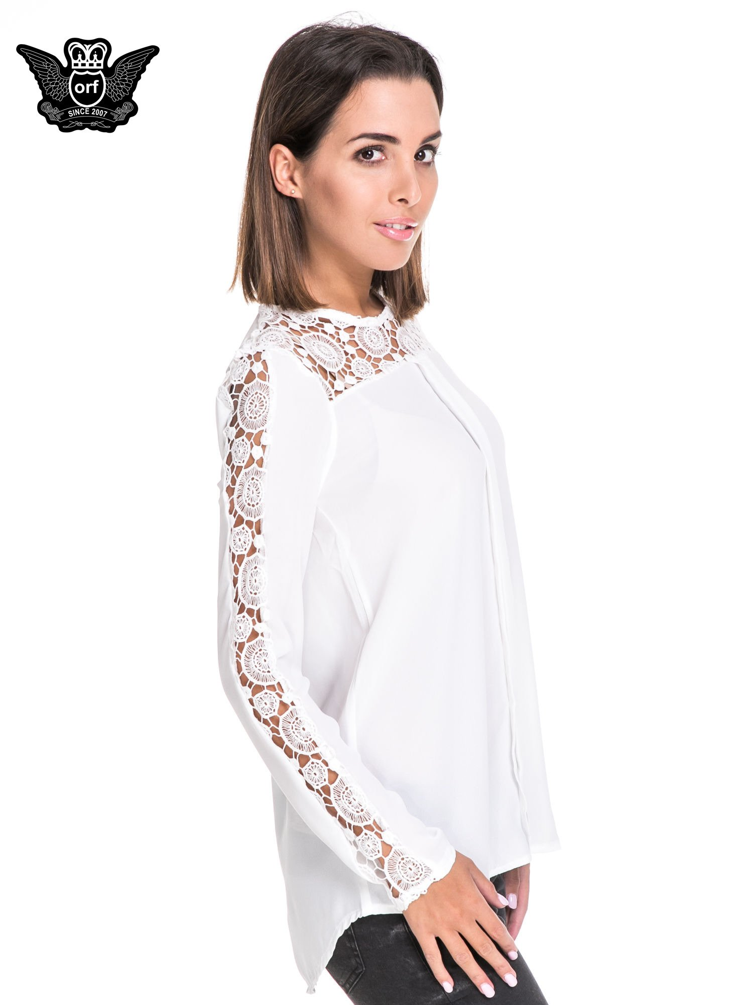 Biała koszula z gipiurą                                  zdj.                                  3