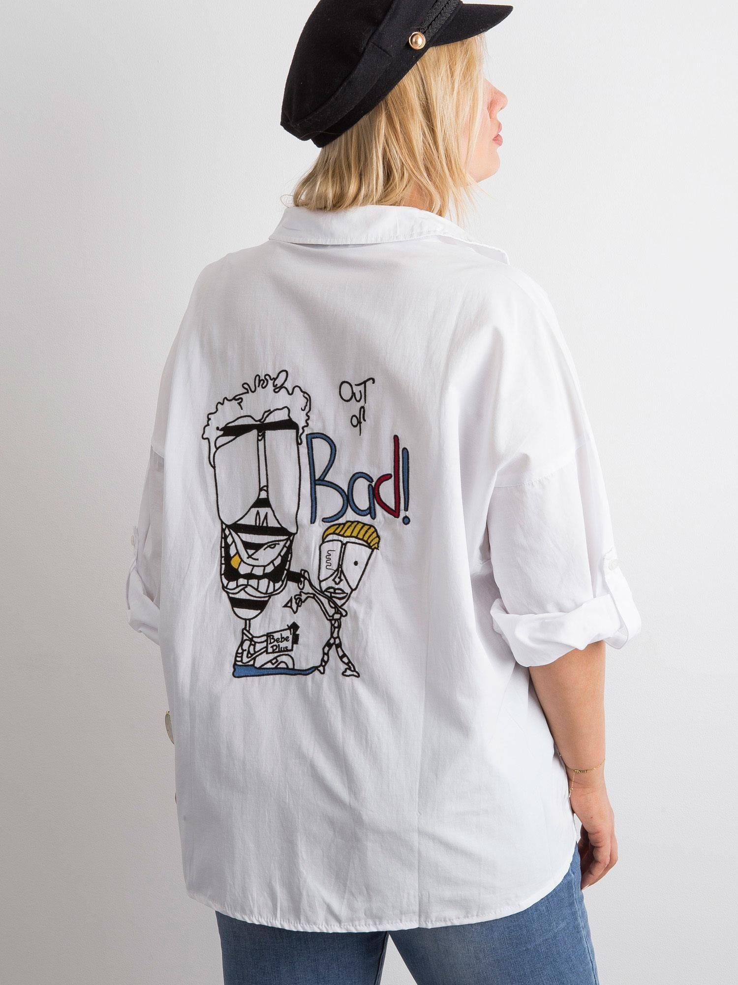 Biała koszula z haftem PLUS SIZE Koszula plus size sklep  MjZFg