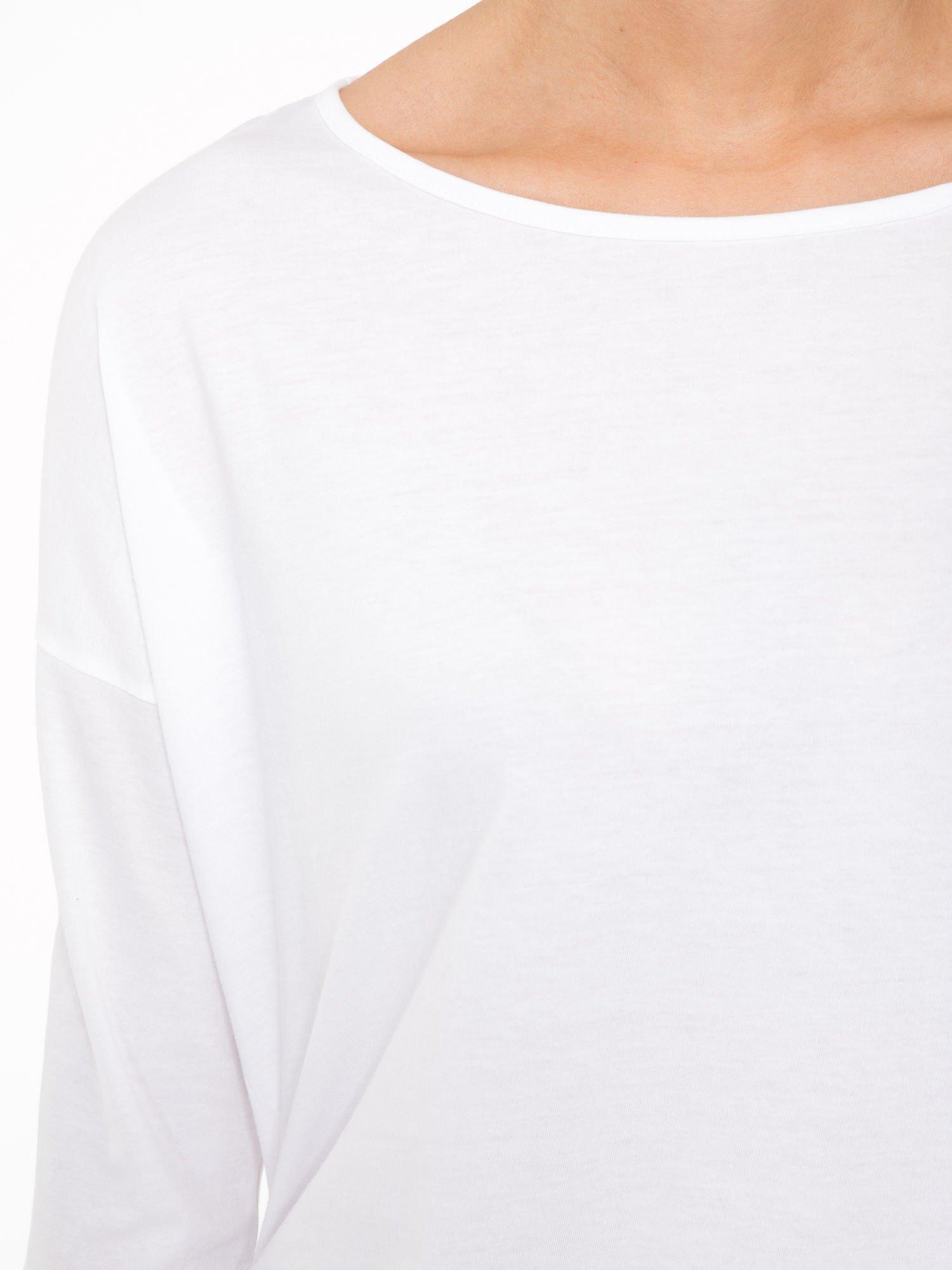 Biała luźna bluzka z rękawem 3/4                                  zdj.                                  6