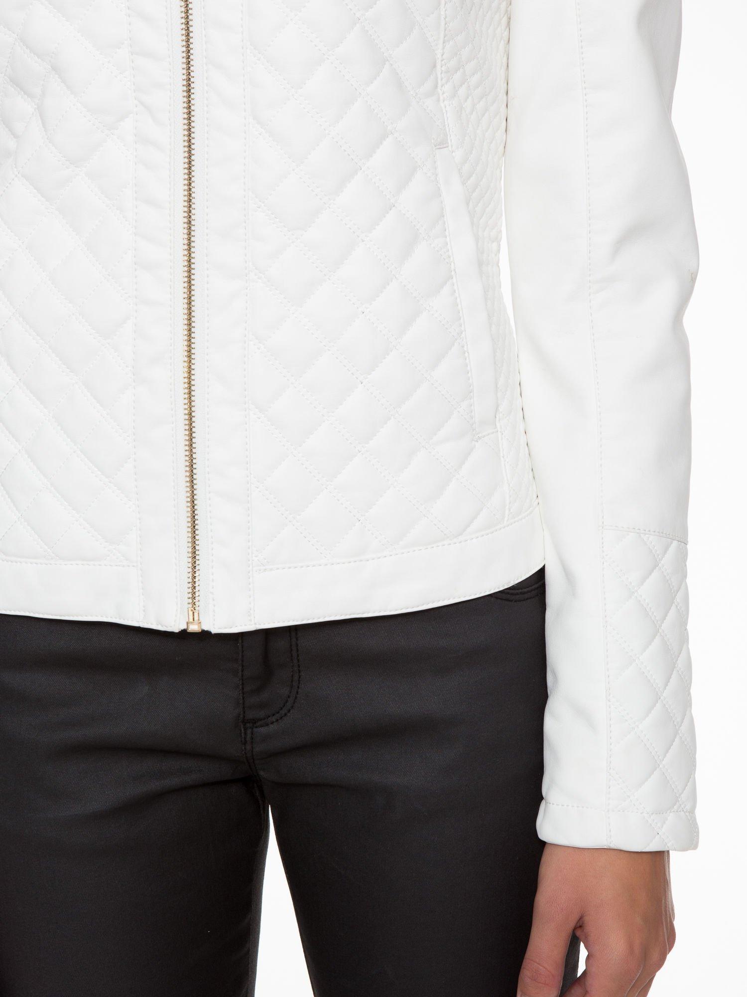 Biała pikowana kurtka ze skóry                                  zdj.                                  7