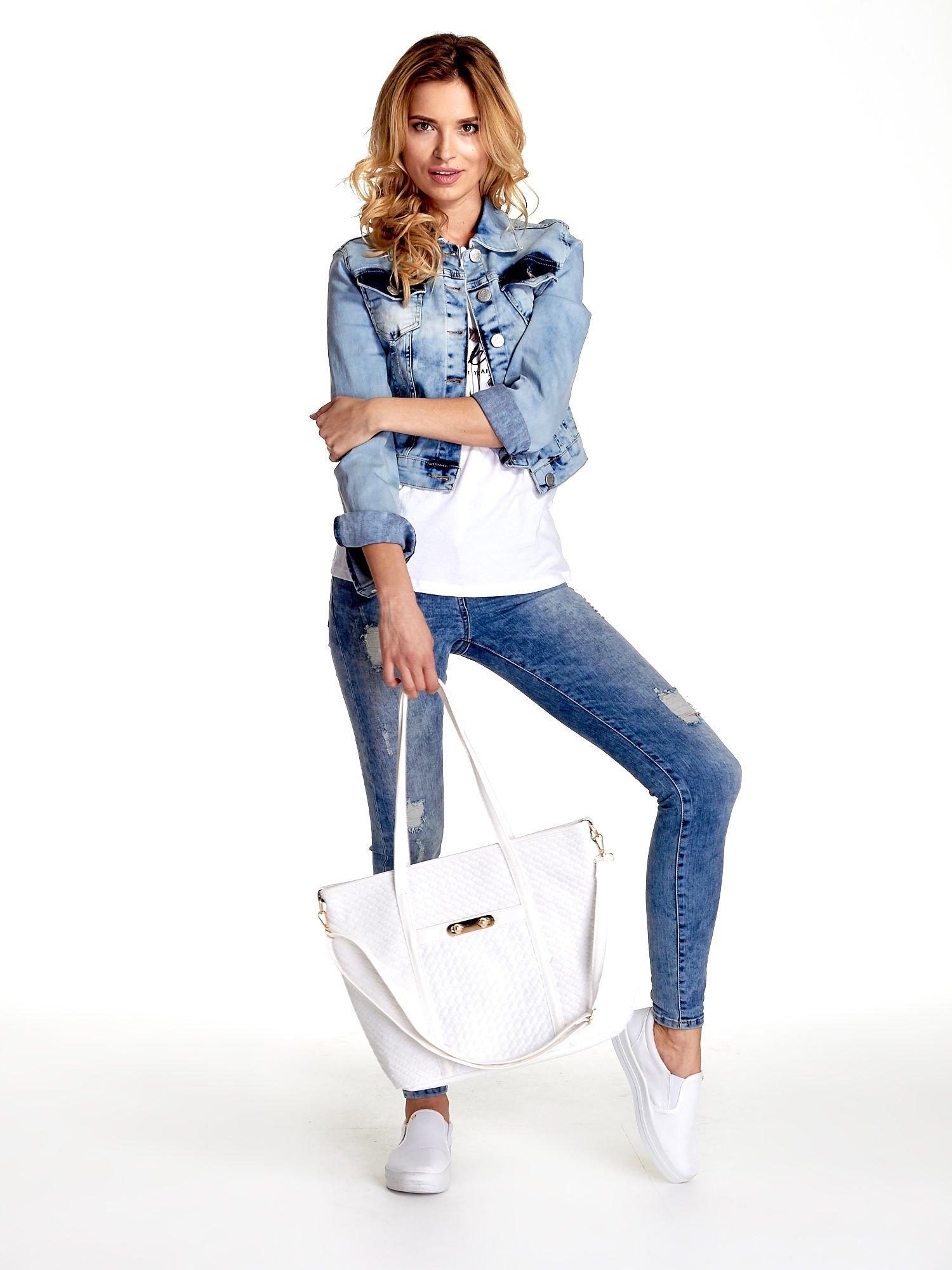 Biała pleciona torba shopper bag ze złotym detalem                                  zdj.                                  2