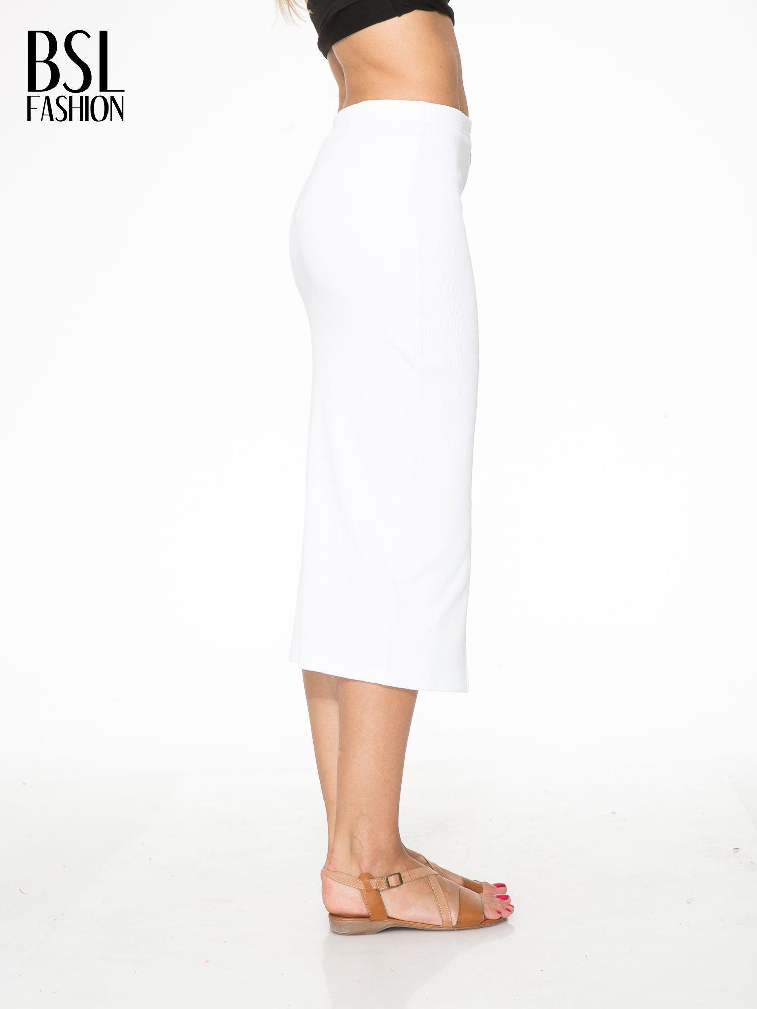Biała spódnica midi z suwakiem z przodu                                  zdj.                                  3