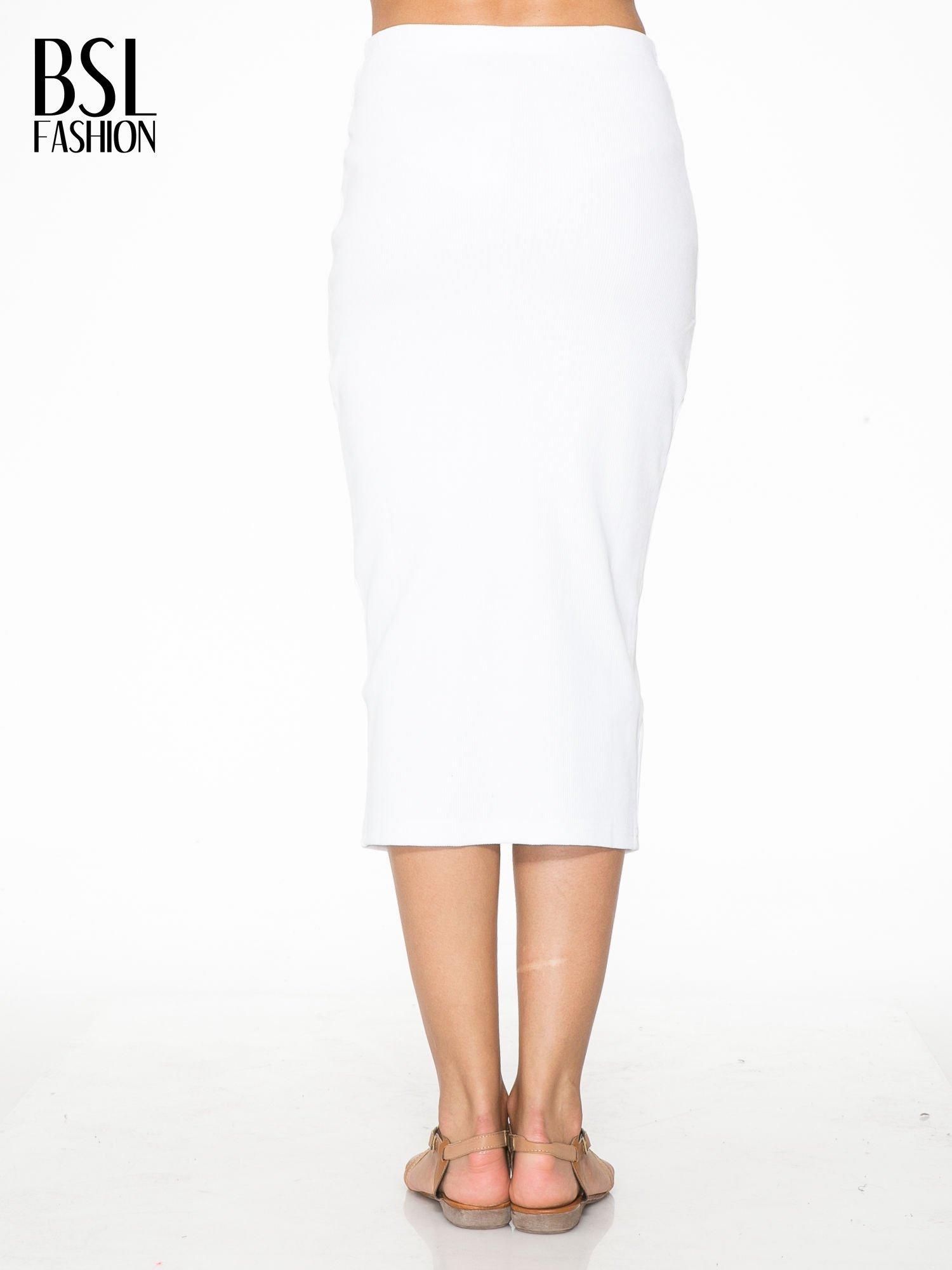 Biała spódnica midi z suwakiem z przodu                                  zdj.                                  4