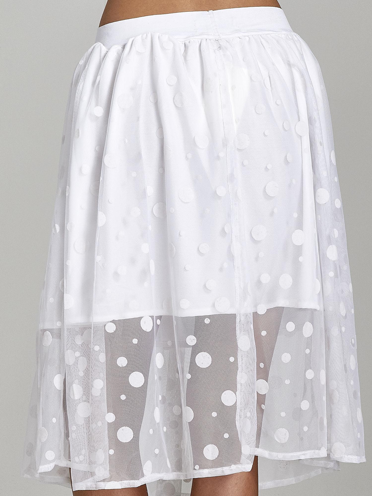 Biała spódnica z tiulową warstwą w groszki                                  zdj.                                  7