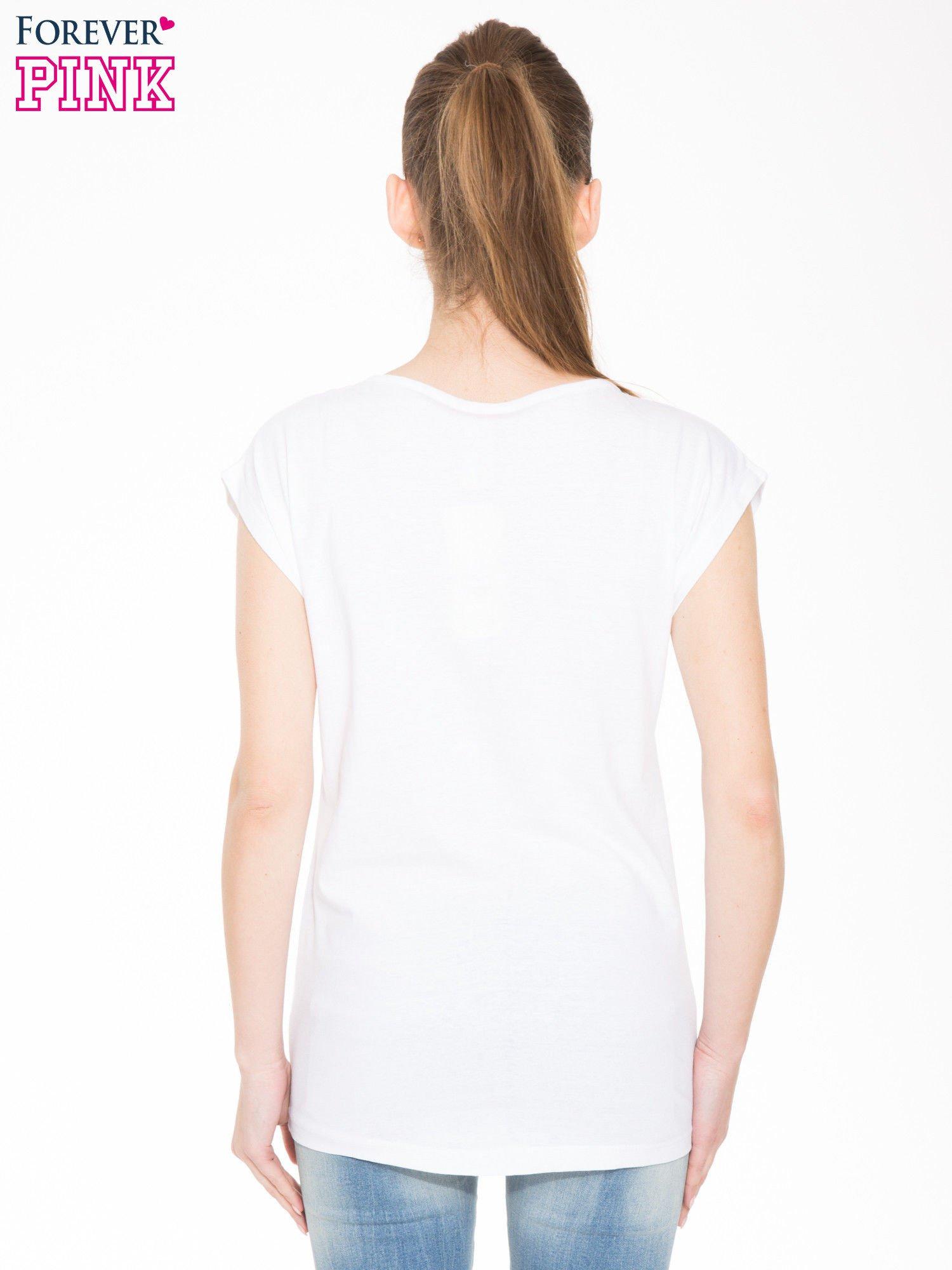 Biała t-shirt z nadrukiem kota i napisem LOVE CATS                                  zdj.                                  3