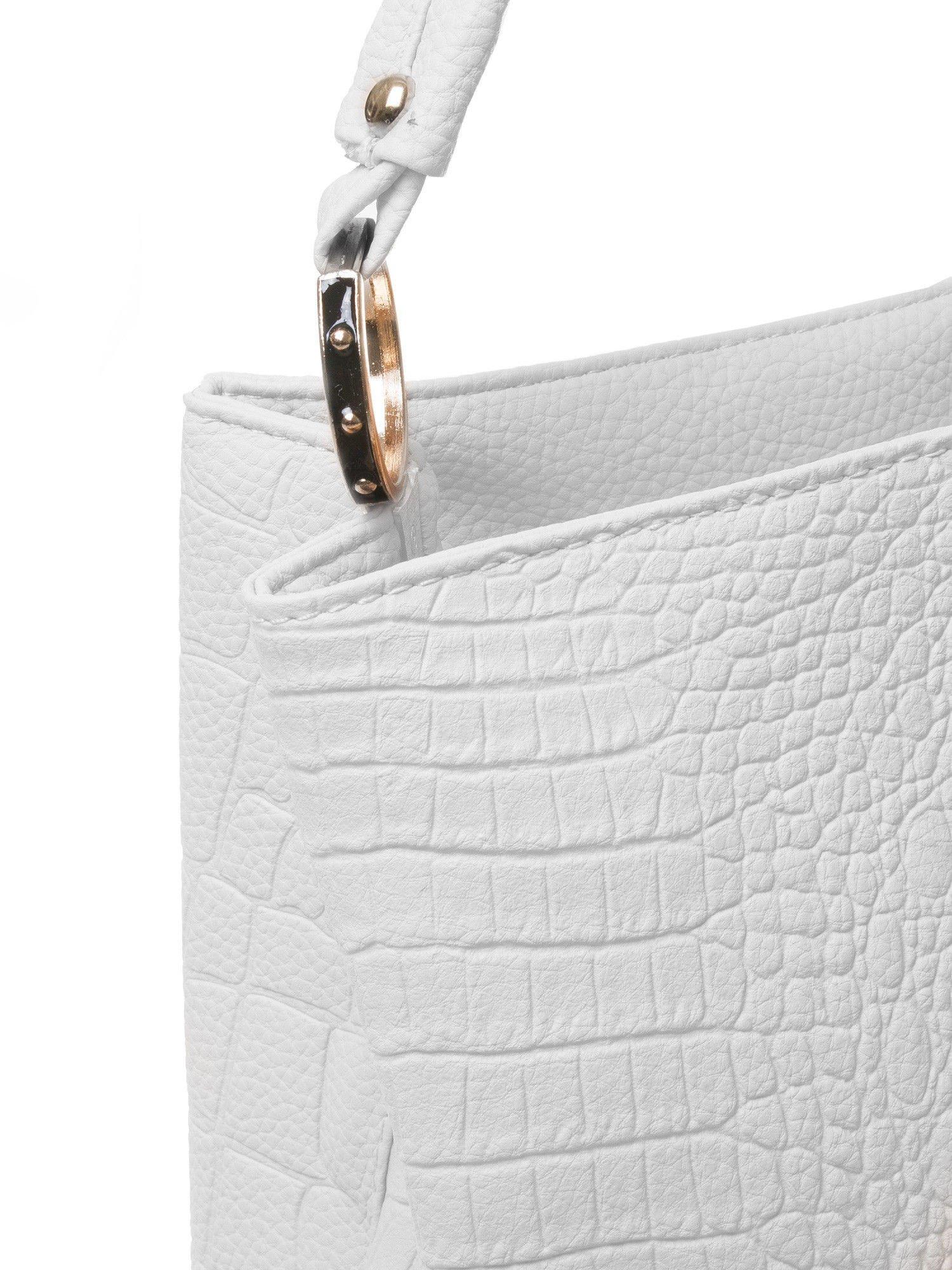 Biała torebka na ramię tłoczona na wzór skóry krokodyla                                  zdj.                                  3