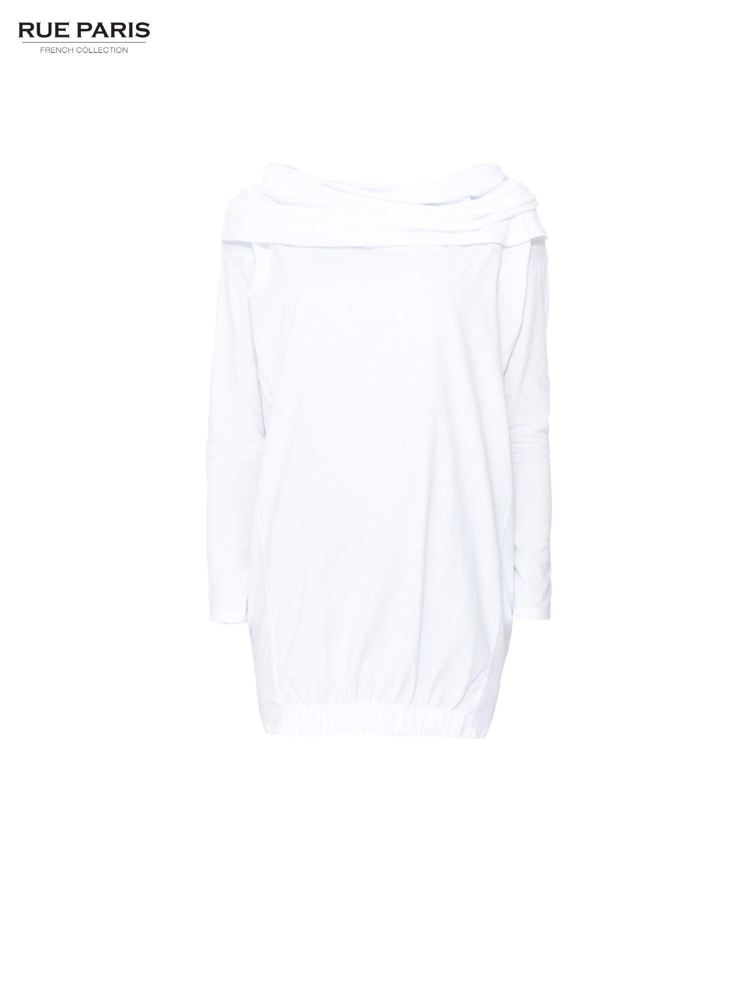Biała tunika dresowa z kominokapturem i ściągaczem na dole                                  zdj.                                  5