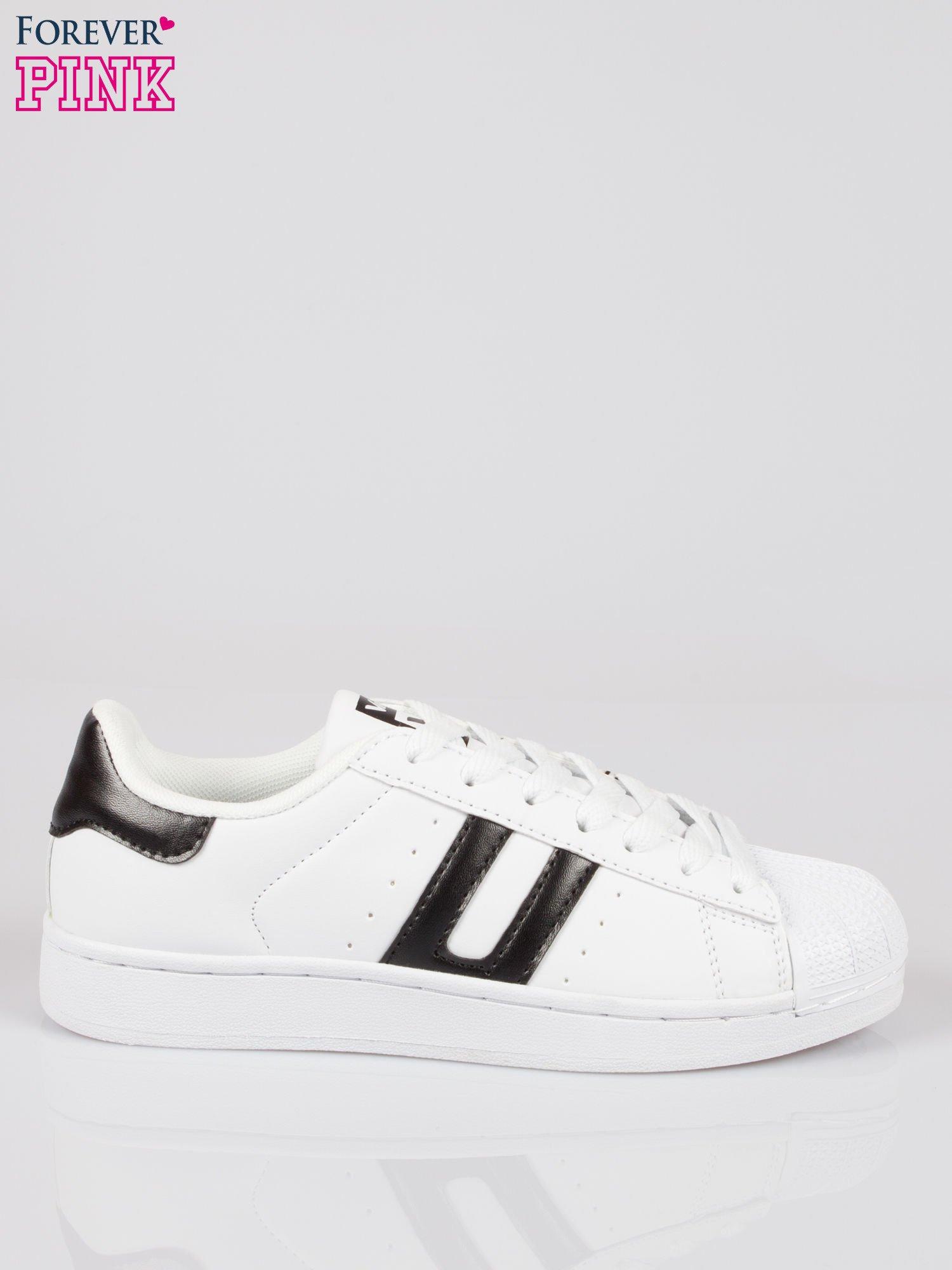 Białe adidasy damskie z czarną wstawką                                  zdj.                                  1