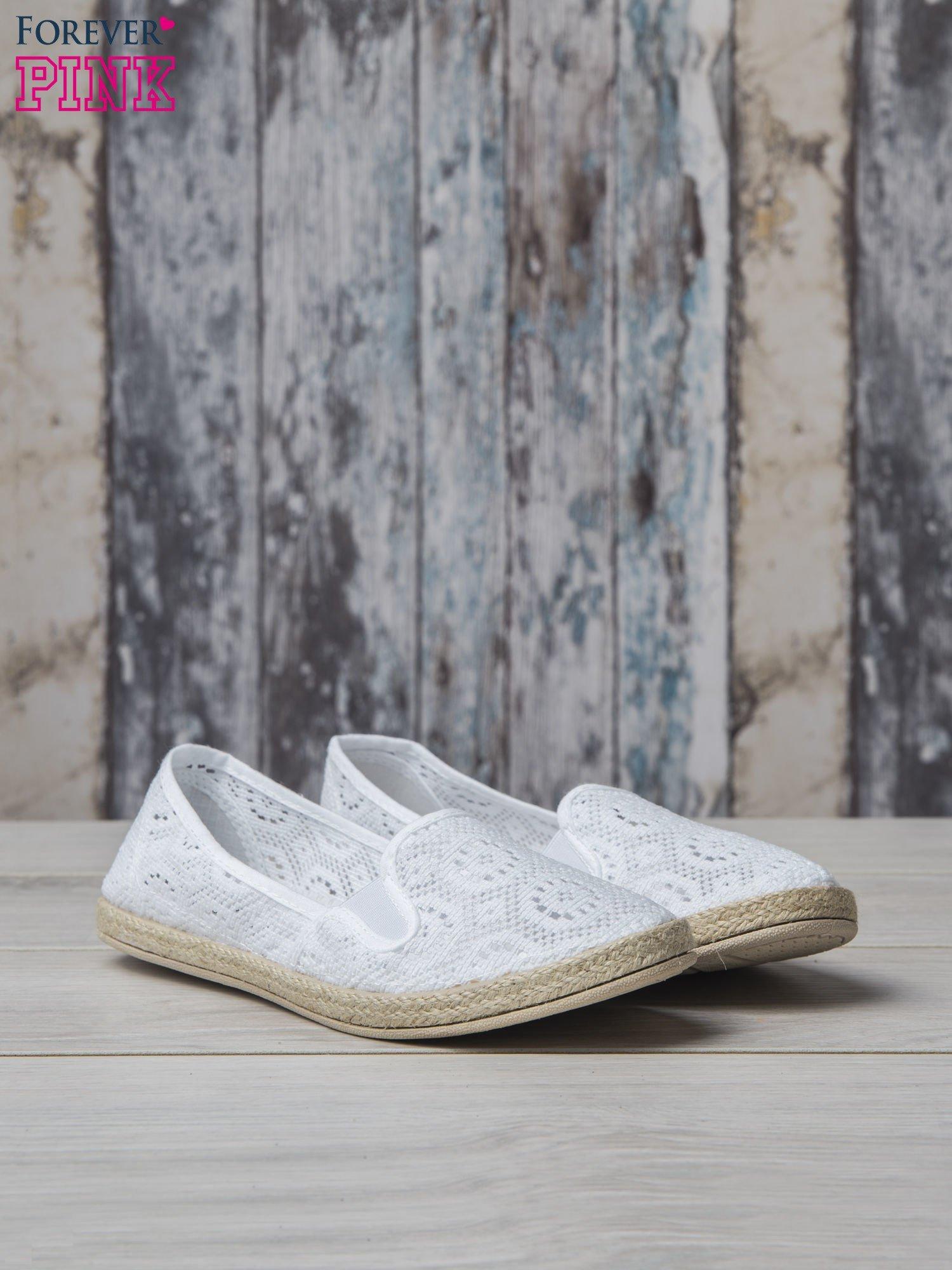 Białe ażurowe espadryle material Enjoy                                  zdj.                                  3