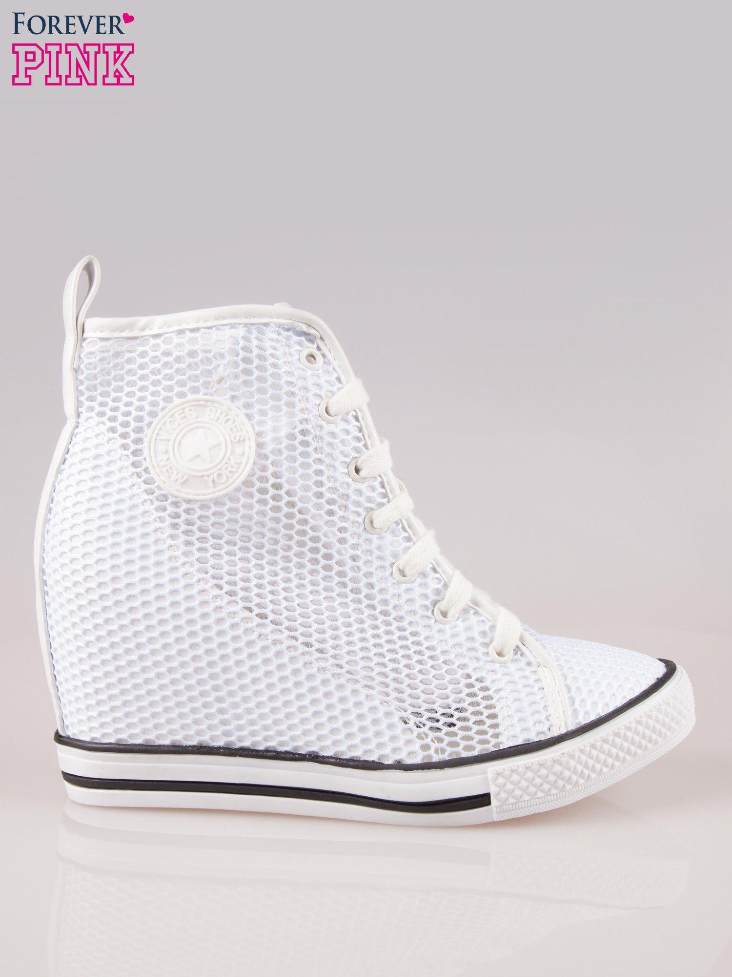 7ade320a Białe ażurowe trampki na koturnie - Buty Sneakersy - sklep eButik.pl